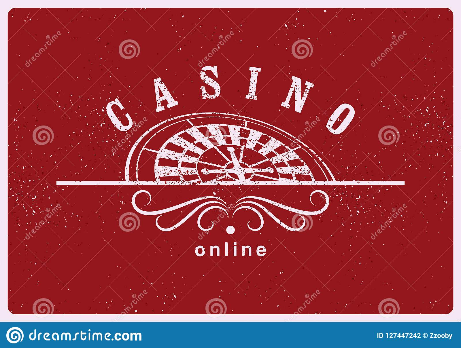 Casino typographical vintage grunge style poster with roulette wheel. Casino label, logo, badge, emblem, sign. Retro vector illust
