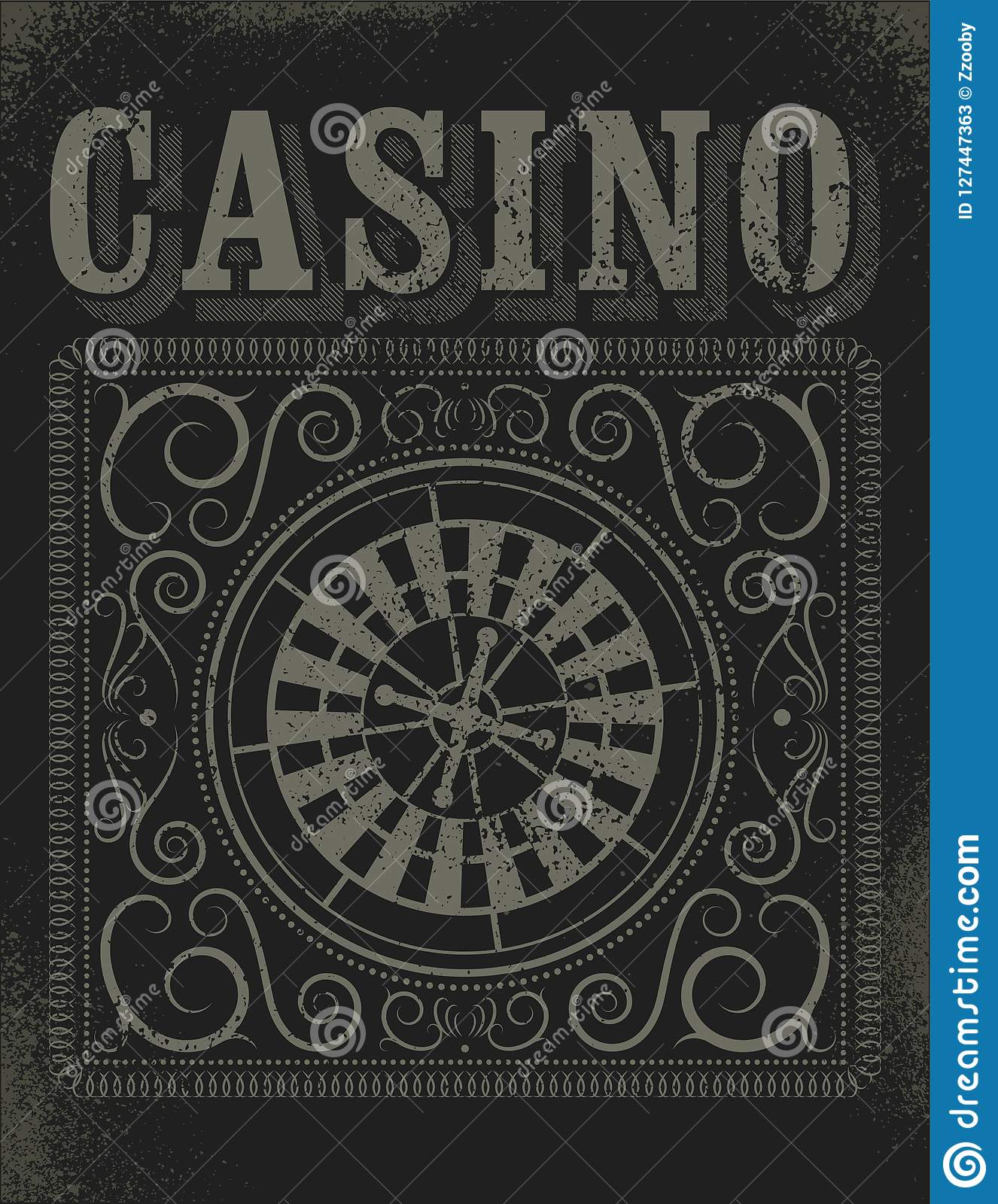 Casino typographical vintage grunge style poster with roulette wheel. Retro vector illustration.