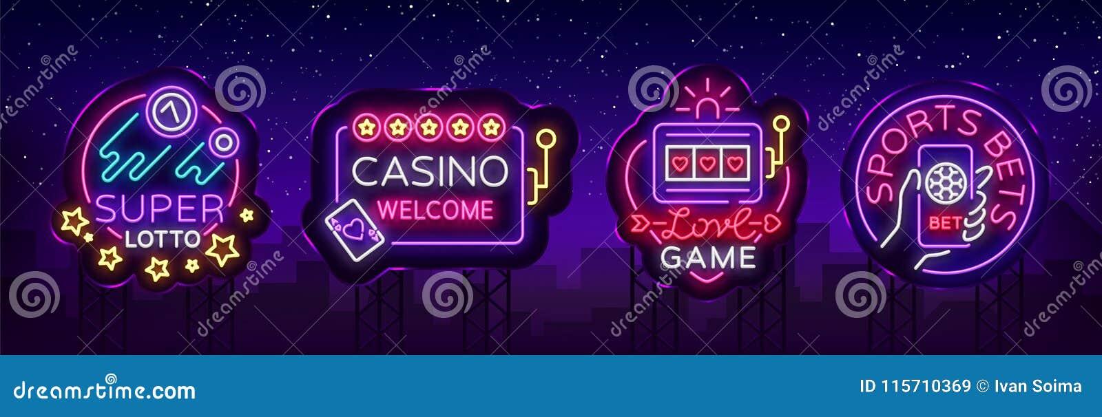 Casinoinzameling van neontekens Ontwerpmalplaatje in neonstijl Gokautomaten, Pook Online Helder Logo Character