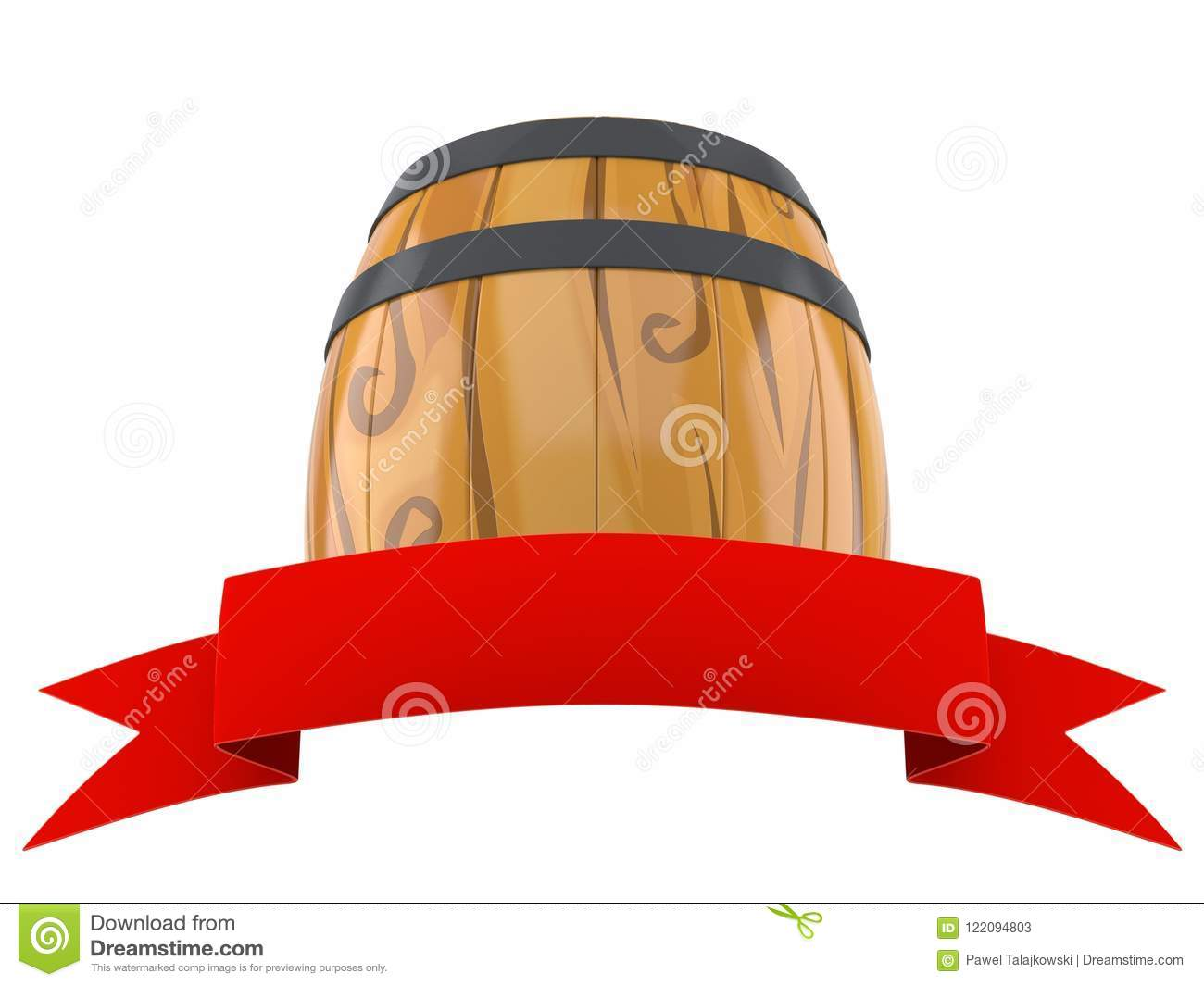 Cask with blank red ribbon