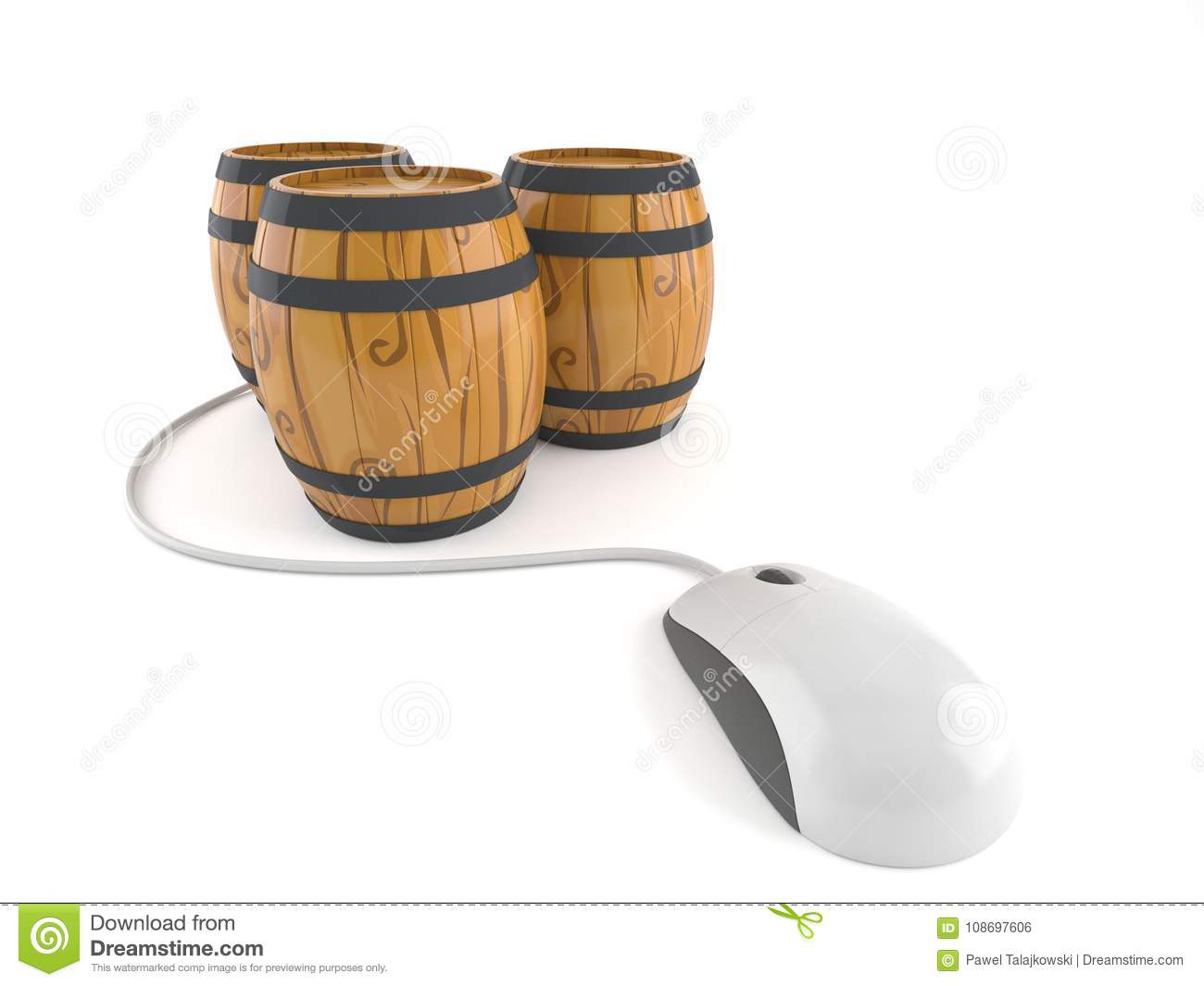 Cask with computer mouse