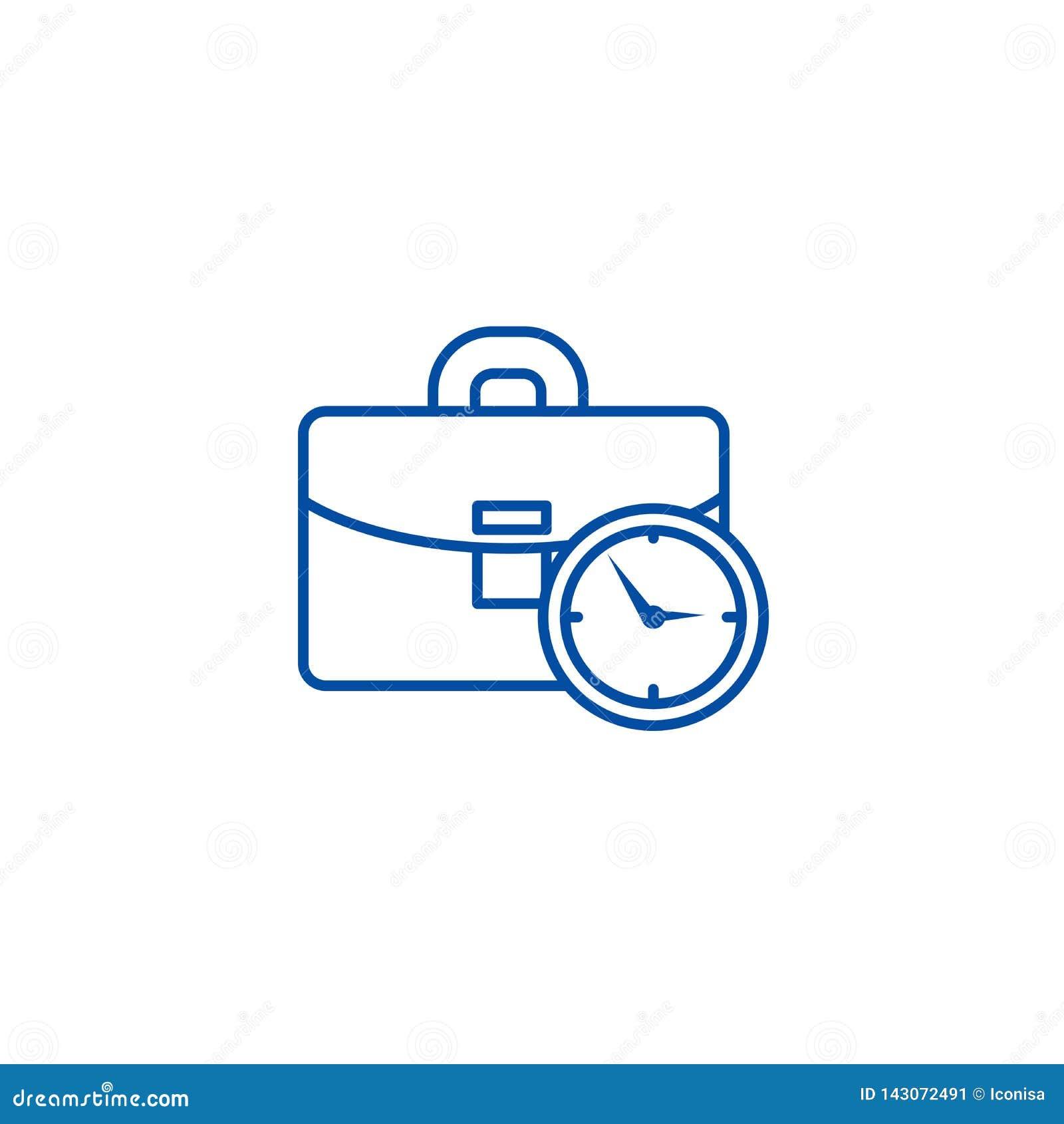 Caso do negócio com linha de tempo conceito do ícone Caso do negócio com símbolo liso do vetor do tempo, sinal, ilustração do esb
