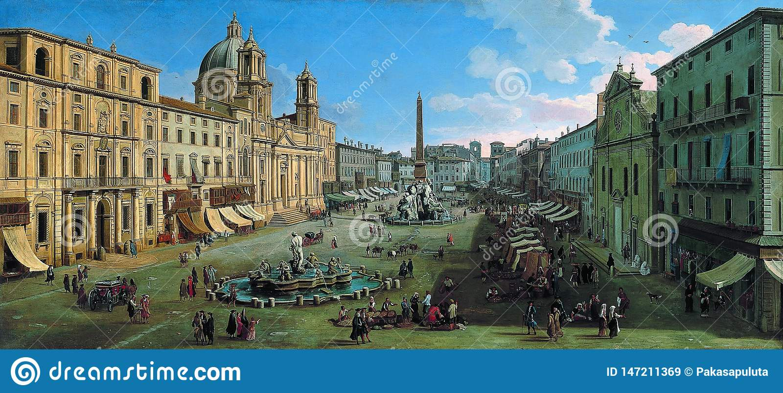 Caspar Adriaansz camionete Wittel - praça Navona, Roma, 1699