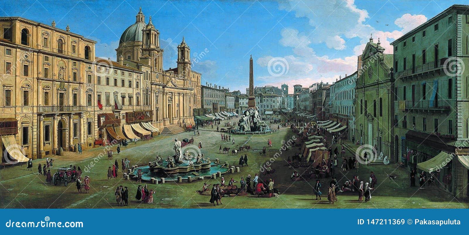 Caspar Adriaansz samochód dostawczy Wittel - piazza Navona, Rzym, 1699