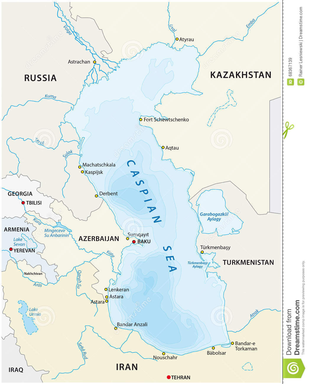 Caspian Sea Map on