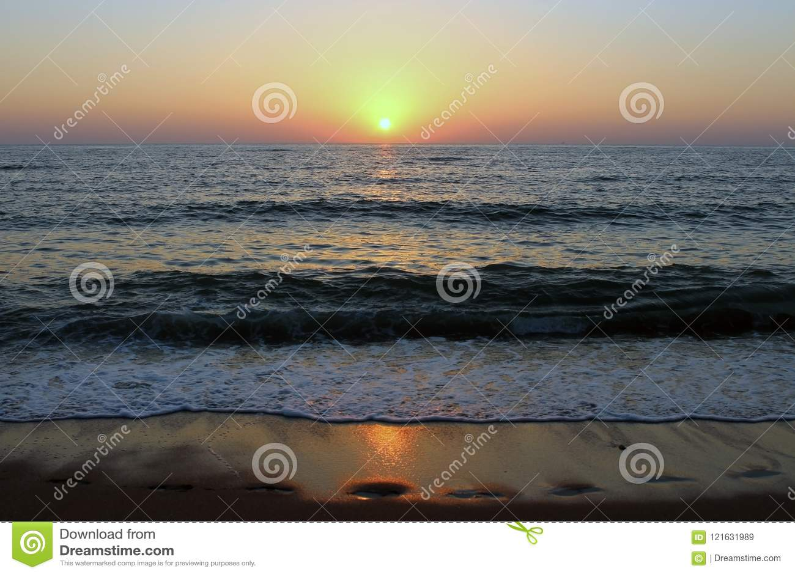 The Caspian sea at sunset