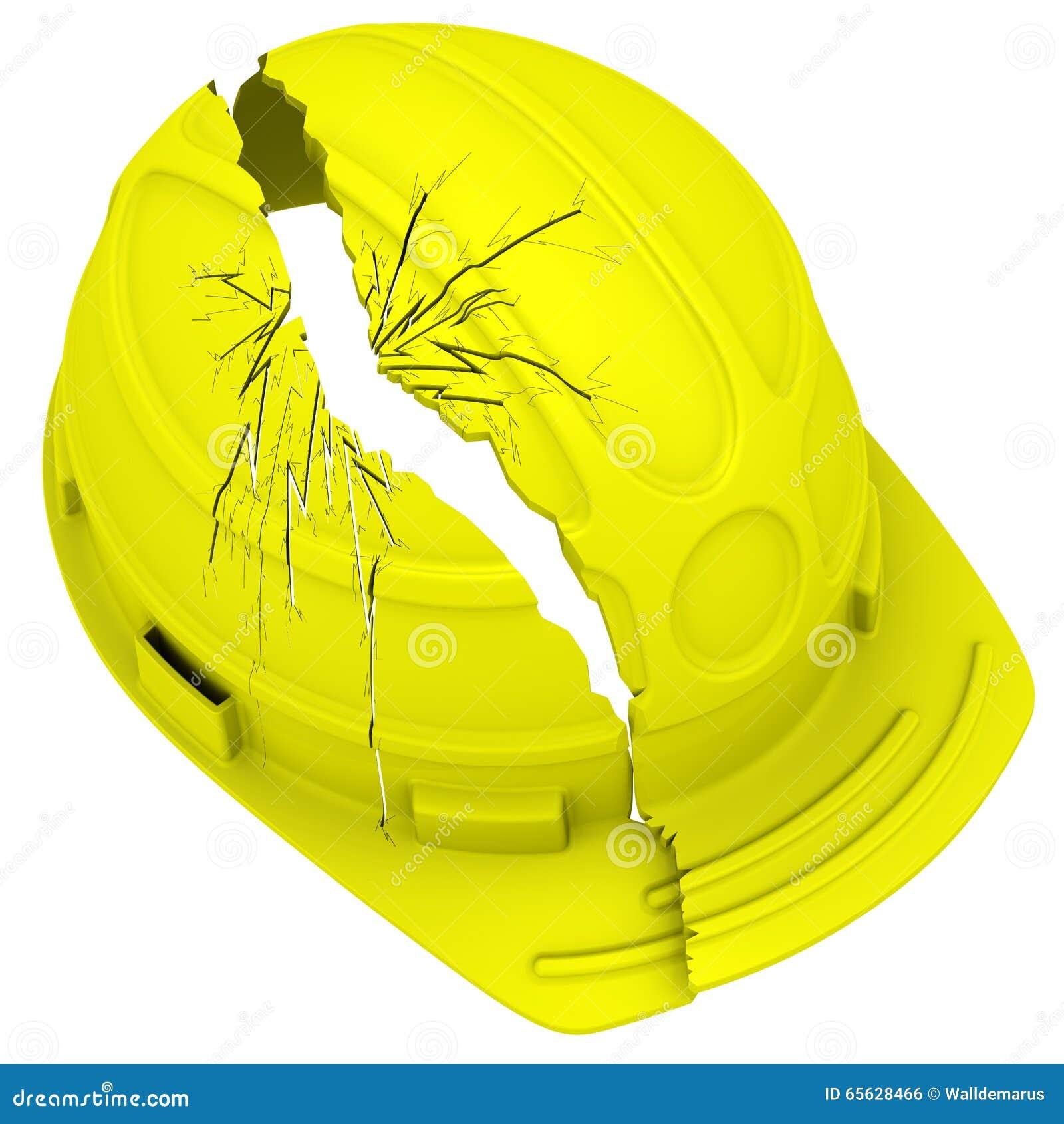 Casque antichoc cassé jaune D isolement