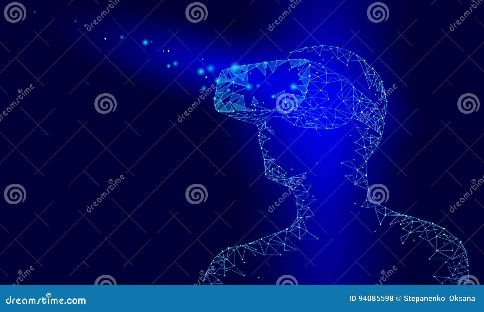 Casque en verre de casque de réalité virtuelle Future technologie visuelle d Internet Homme avec le dispositif sur la tête Bas po