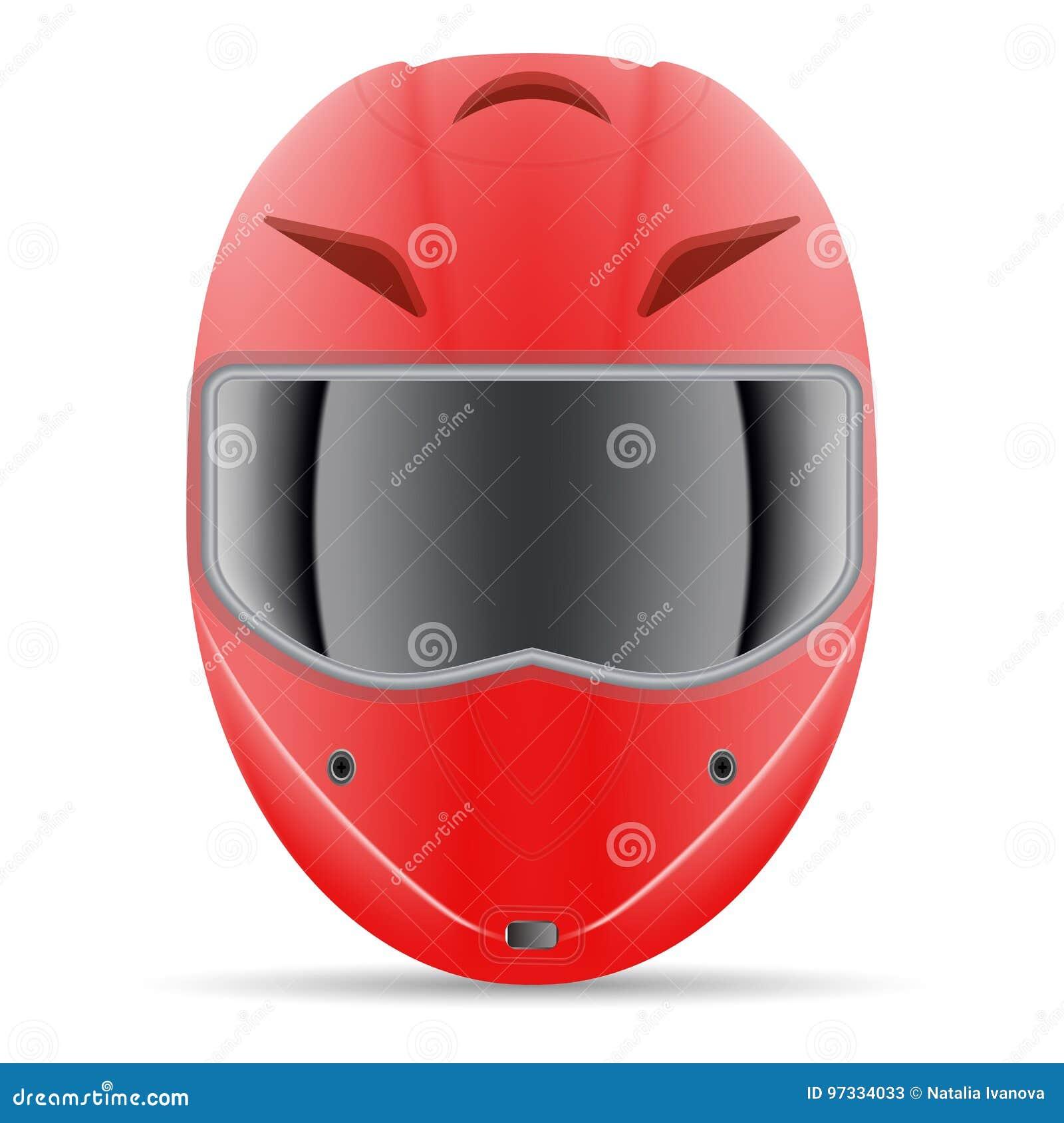 Casque rouge de moto Vue de face d isolement sur un fond blanc Illustration de vecteur