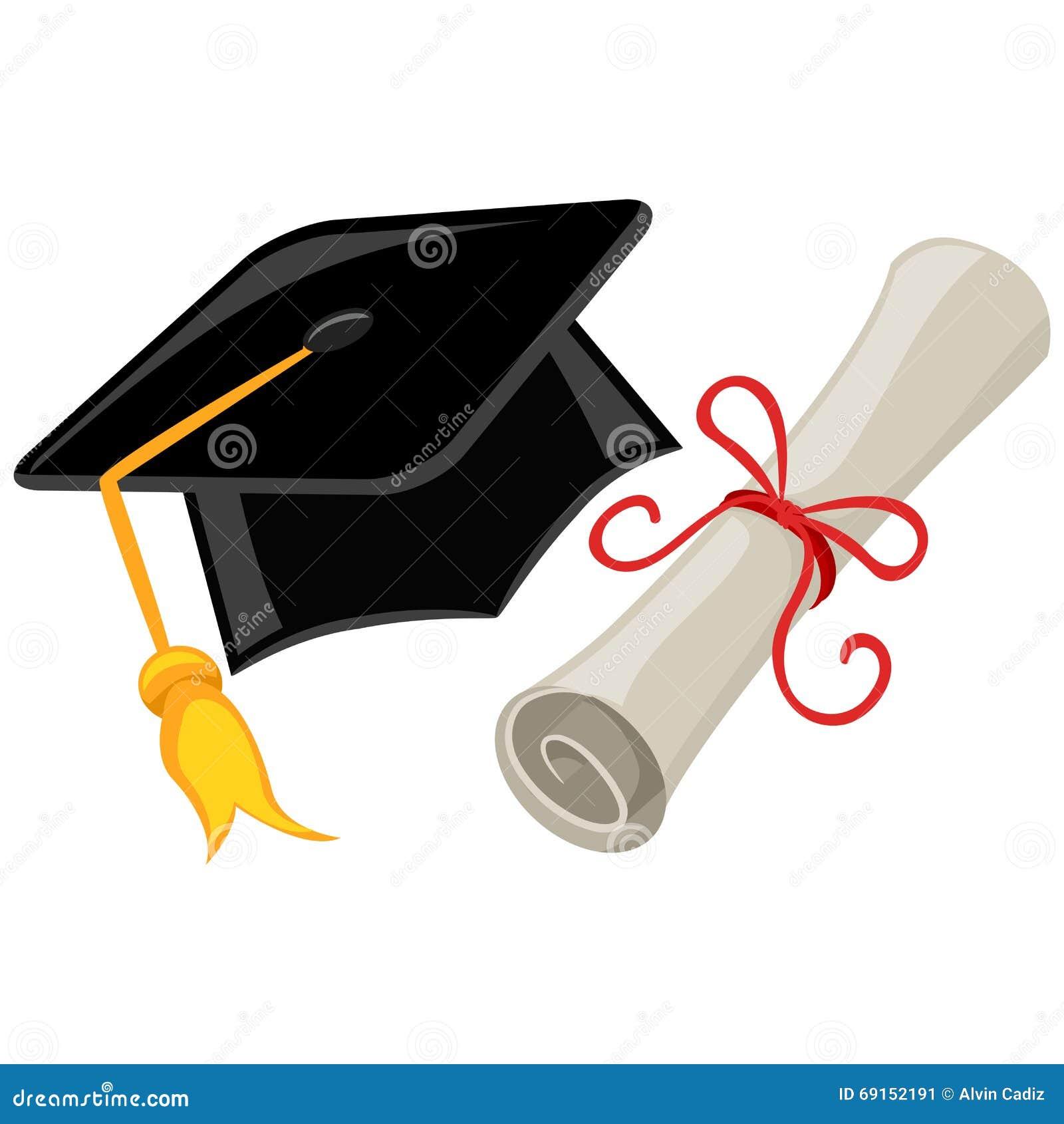 Casquillo, Birrete Y Diploma De La Graduación Ilustración del Vector ...