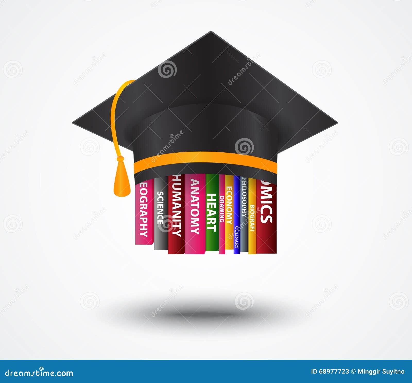 Casquillo de la graduación con concepto de los libros