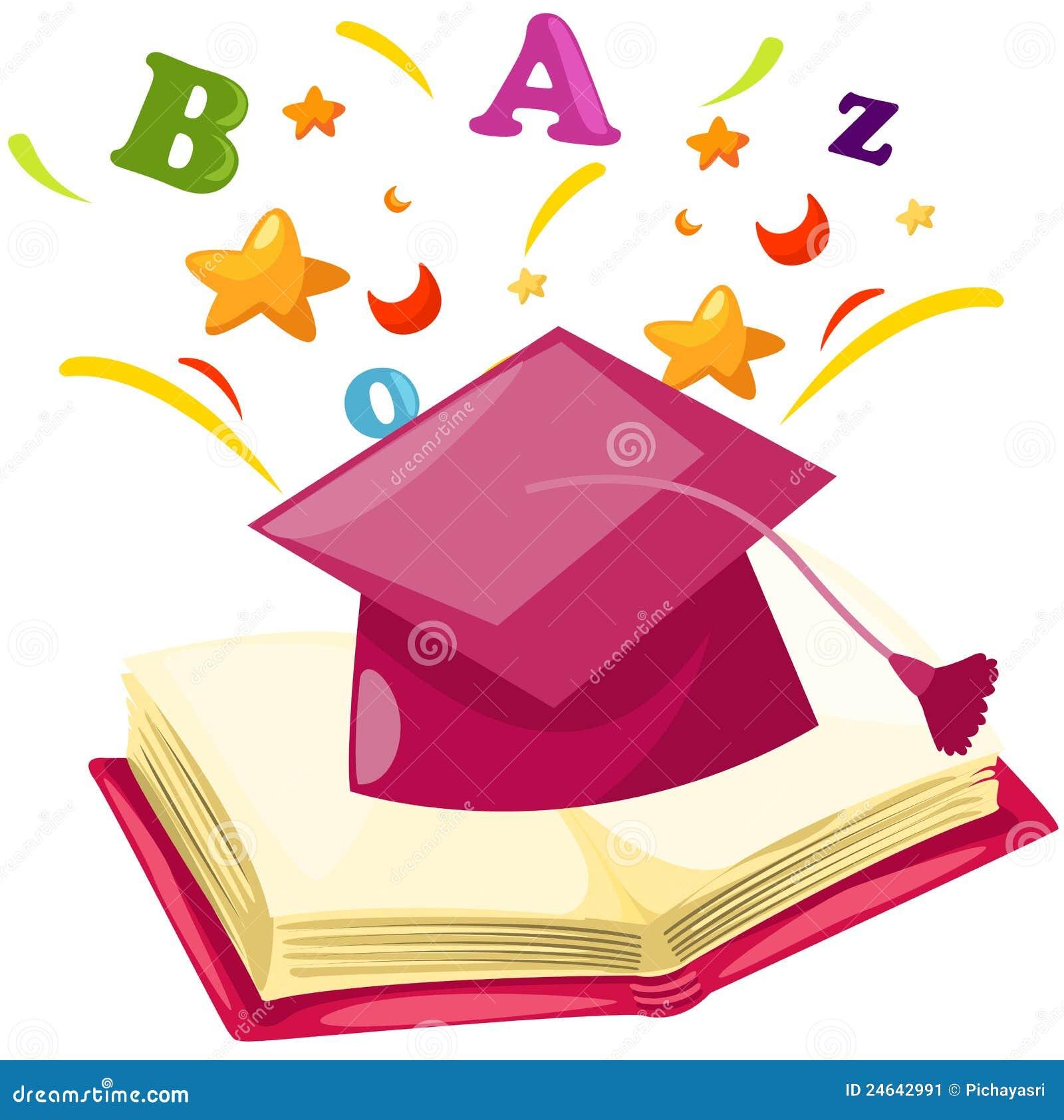 Casquillo De La Graduacion Con El Libro Abierto Ilustracion Del