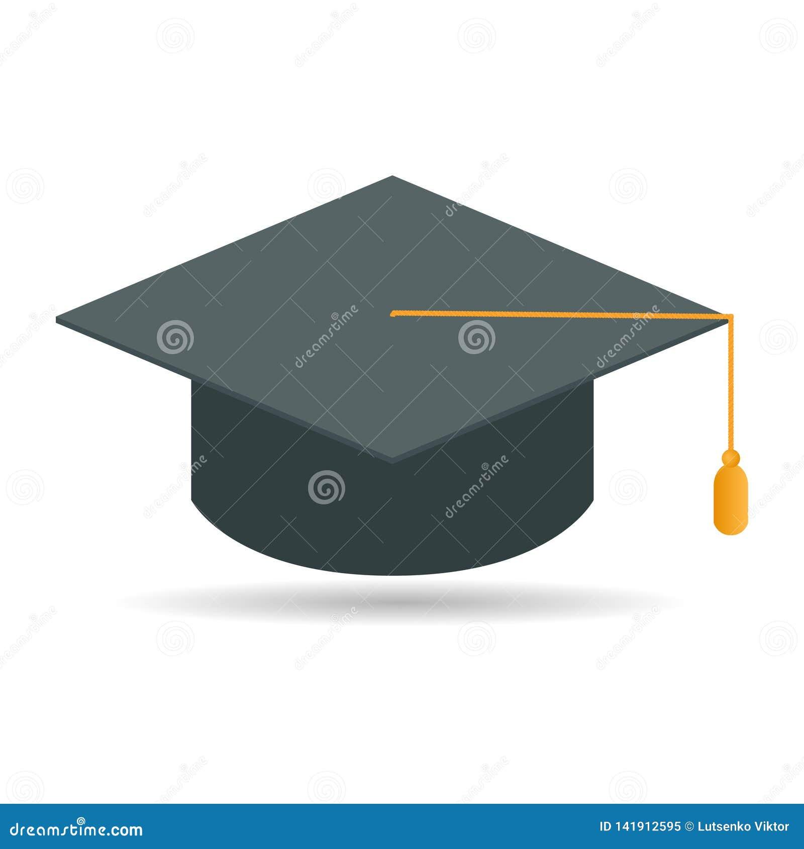 Casquillo de la graduación de la diversión Casquillo académico Diseño plano