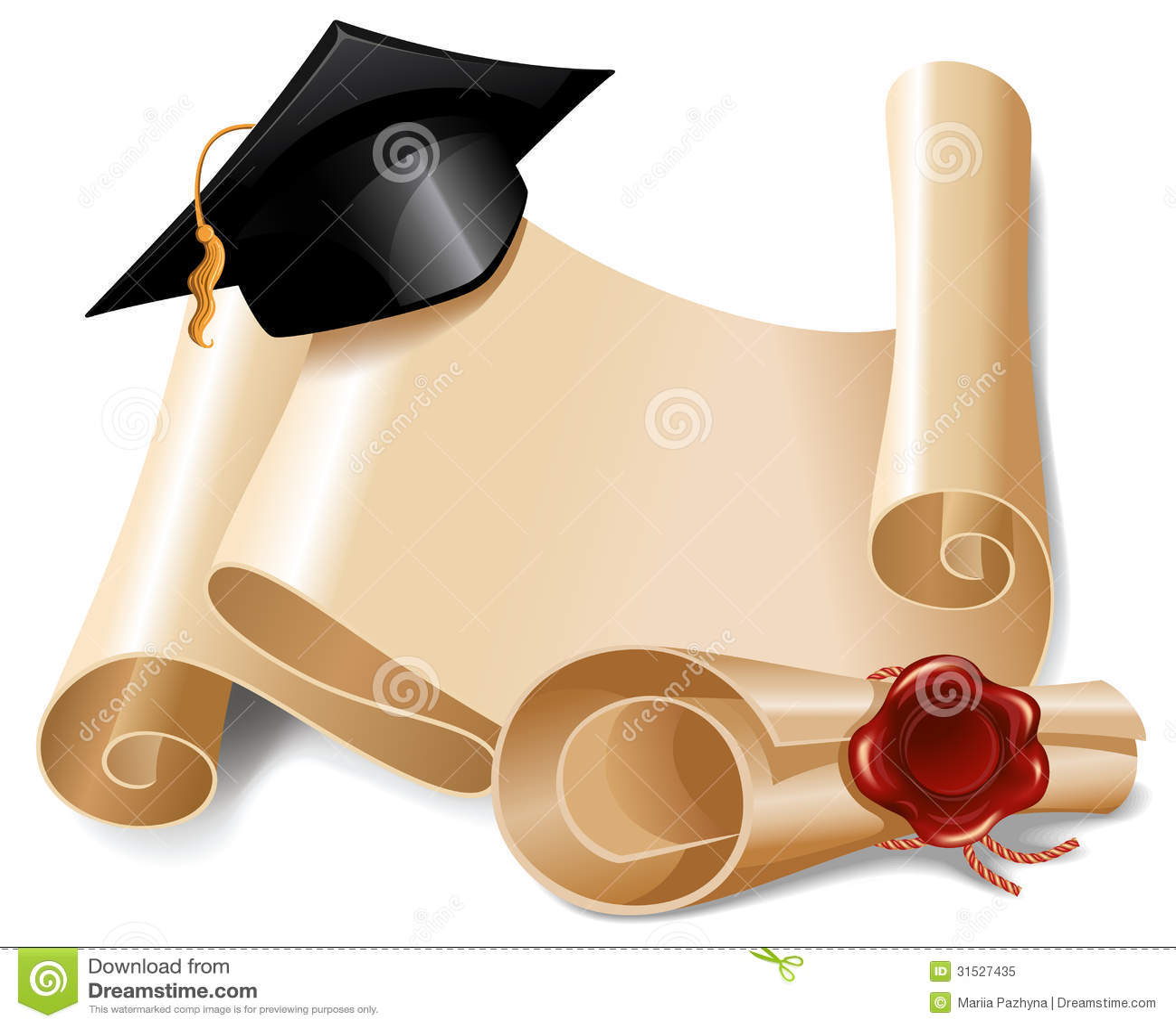 Graduation Cap with Diploma Clip Art