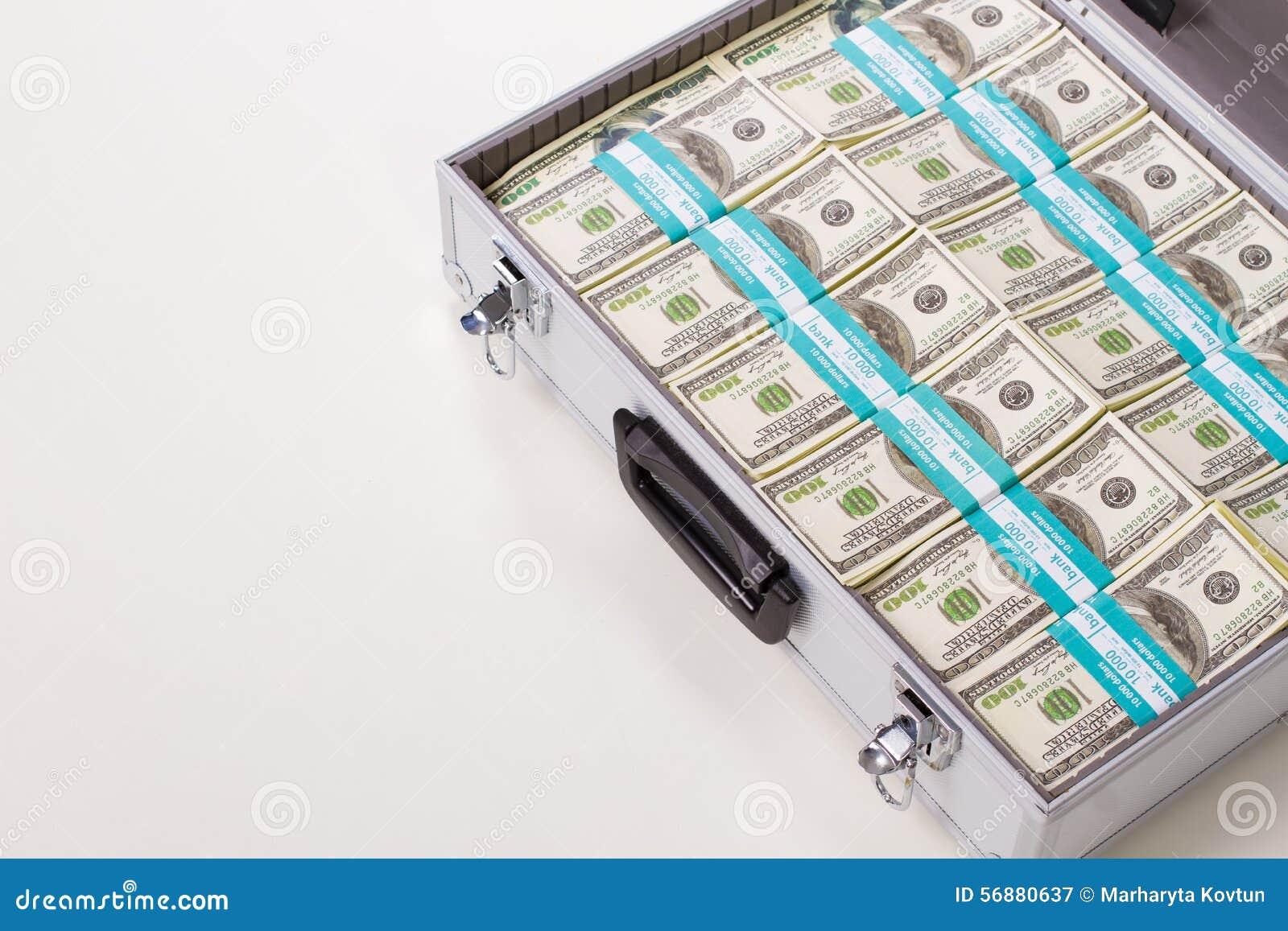 Cassa del metallo con i dollari