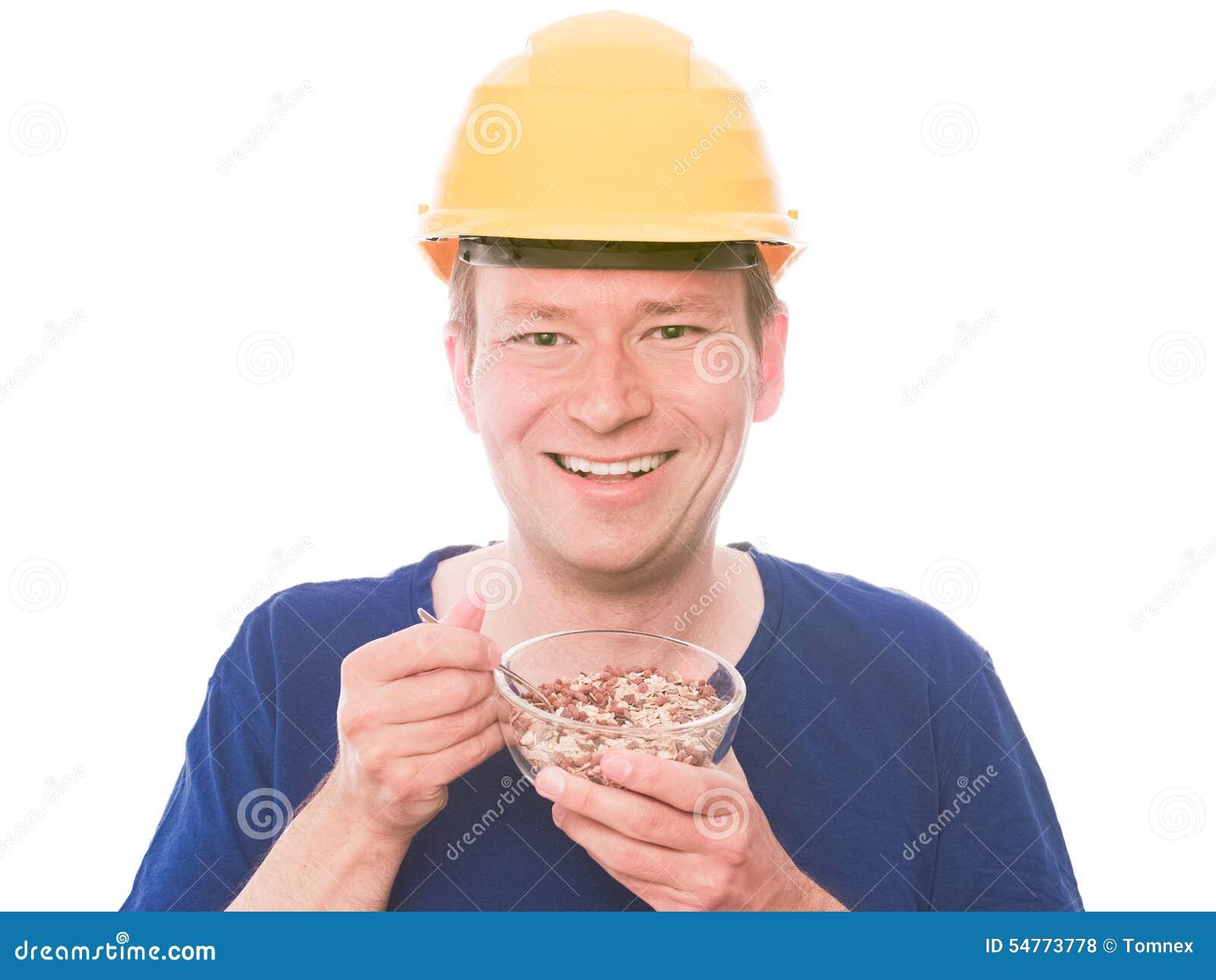 Casse-croûte heureux de bâtiment