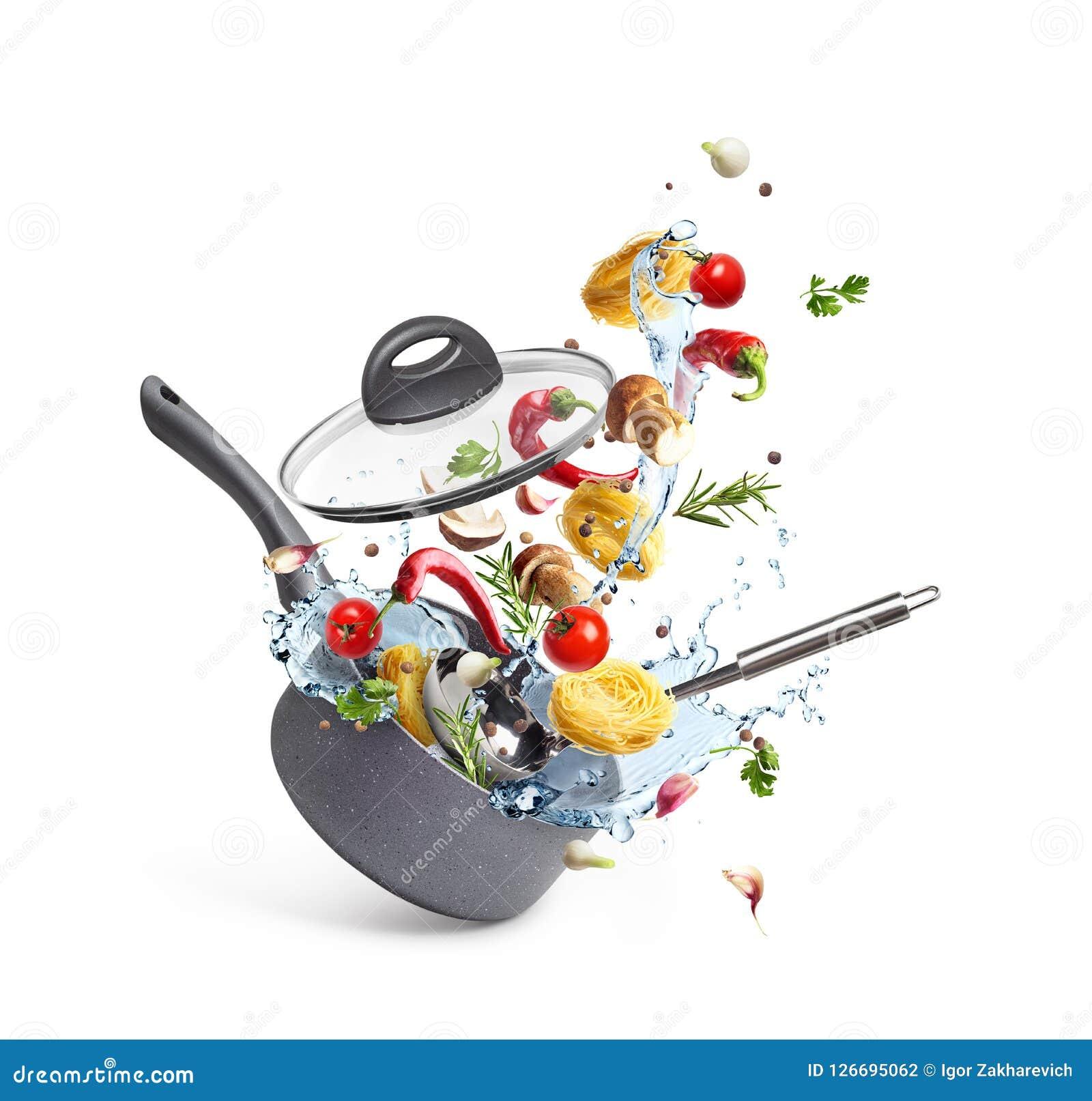 Casserole με τα ζυμαρικά και τα μανιτάρια με τα λαχανικά και το νερό καταβρέχουν, μετεωρισμός,