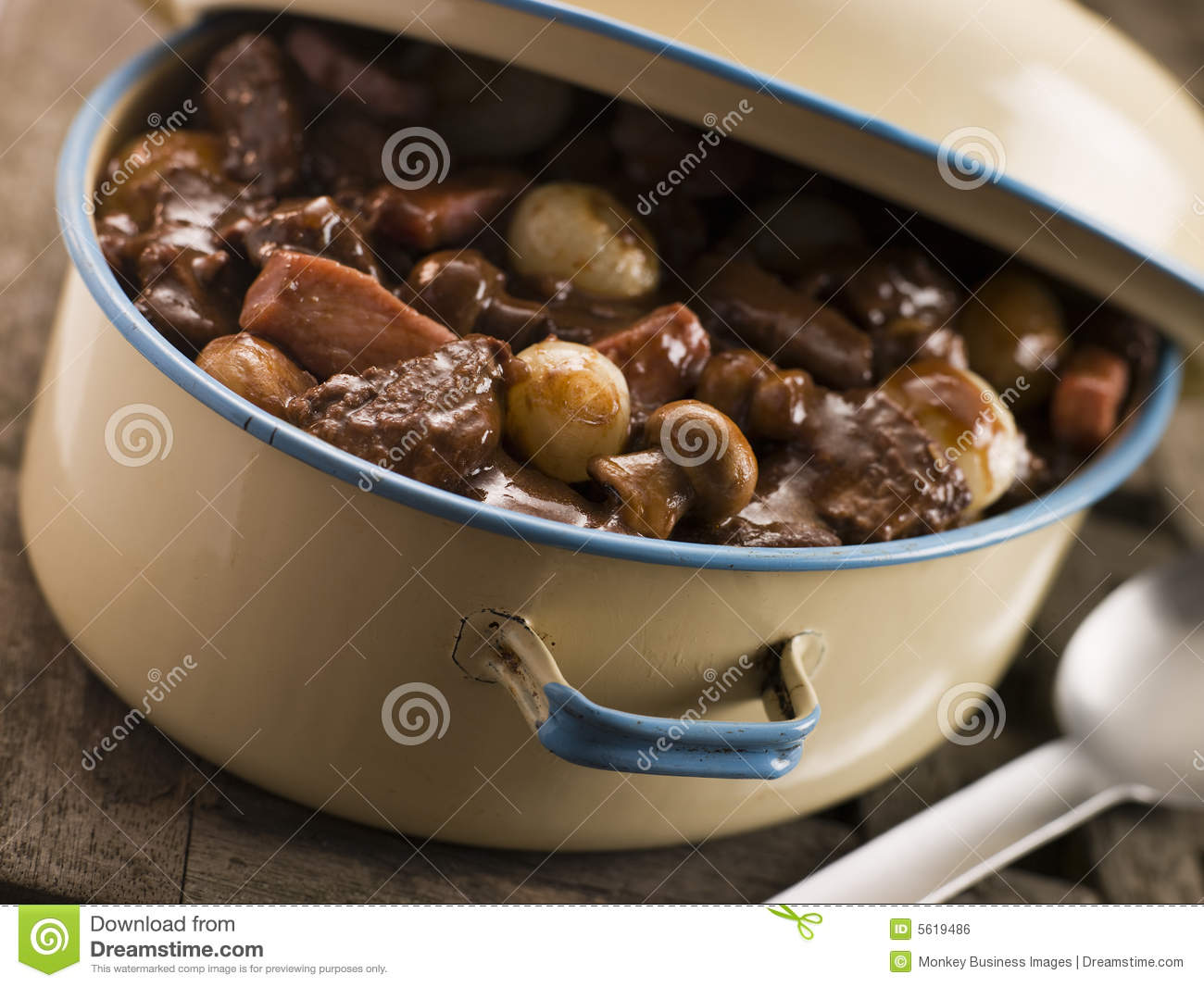 Casserole Dish With Beef Bourguignonne