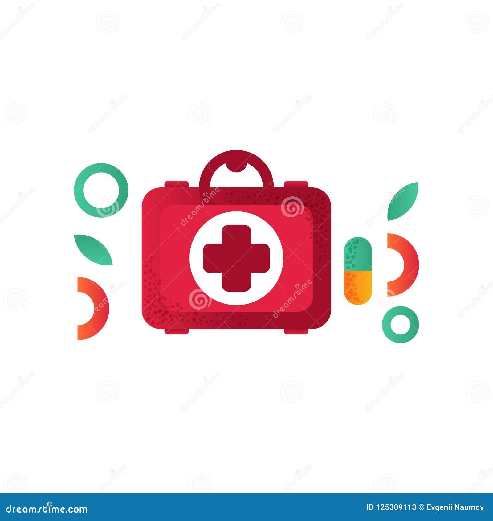 Cassetta Di Pronto Soccorso Simbolo Medico Di Aiuto Illustrazione