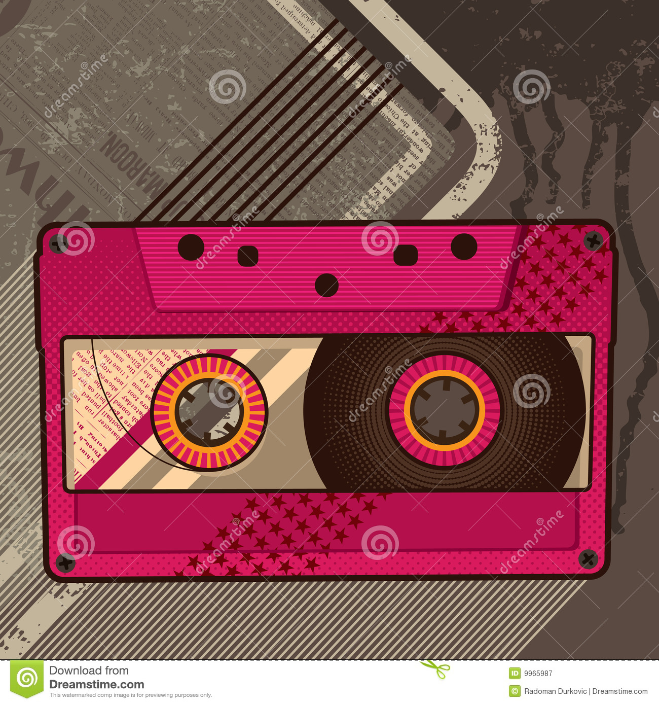 Cassette retro background stock vector image of groove for Imagenes retro vintage