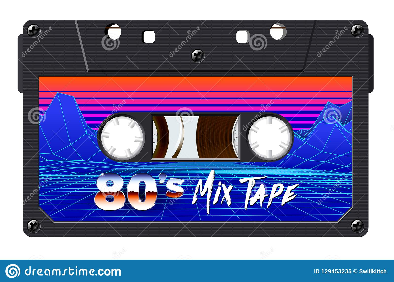 Cassette With Retro Label As Vintage Object For 80s Revival Mix Tape