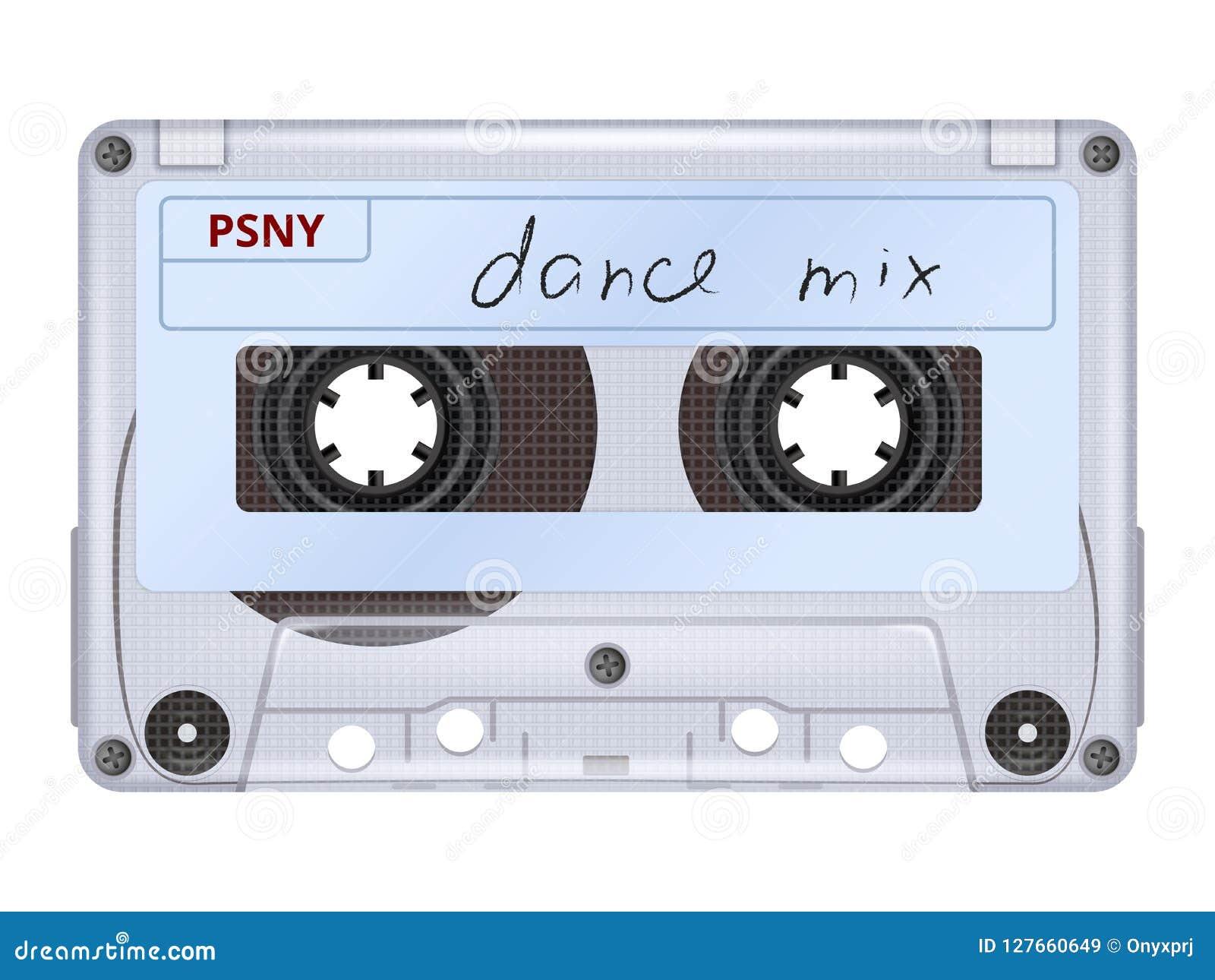 Cassette sonore Photo réaliste de rétro de mixtape de musique du DJ de l équipement 70s 80s de vintage vecteur de technologie d i