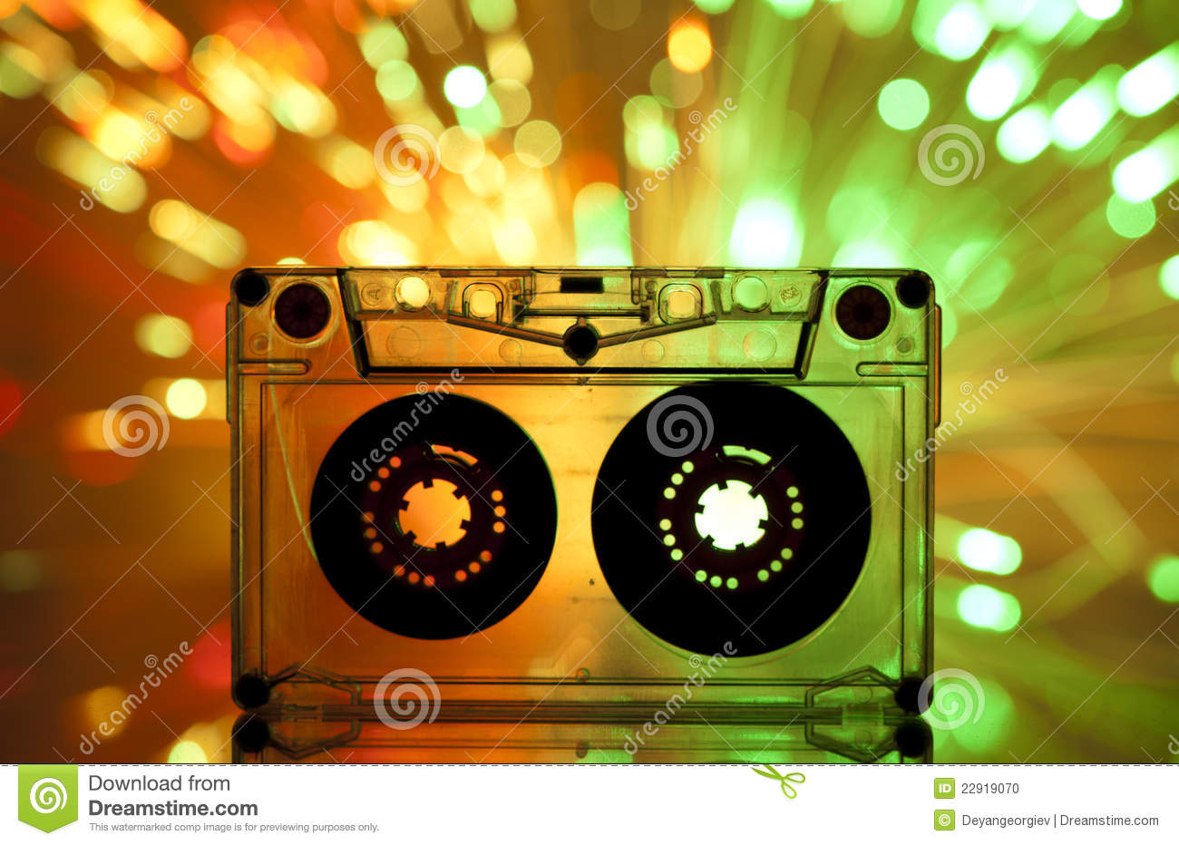 Cassette tape and multicolored lights