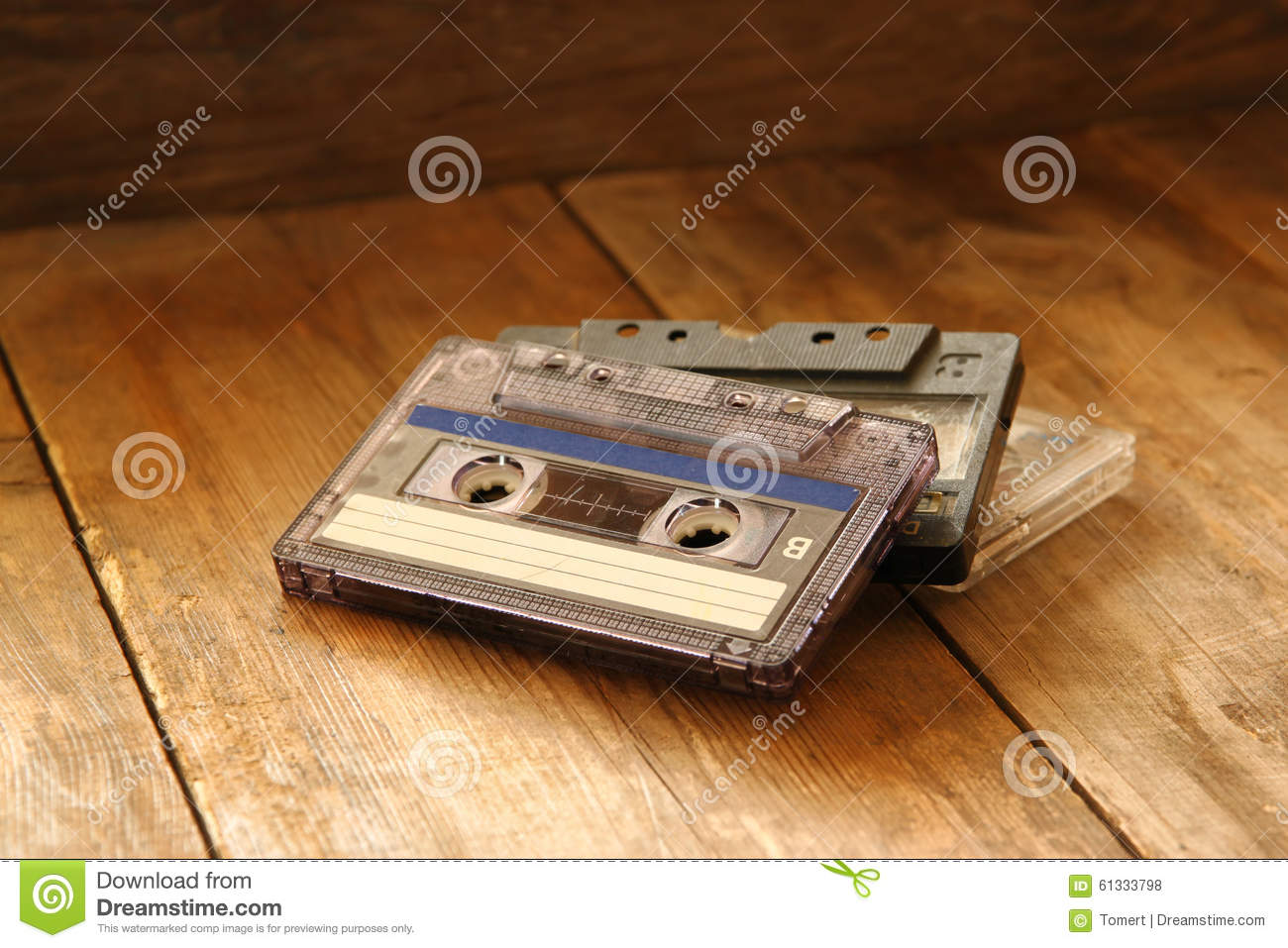 Cassette Tape Over Wooden Table Image Is Instagram Style Filtered