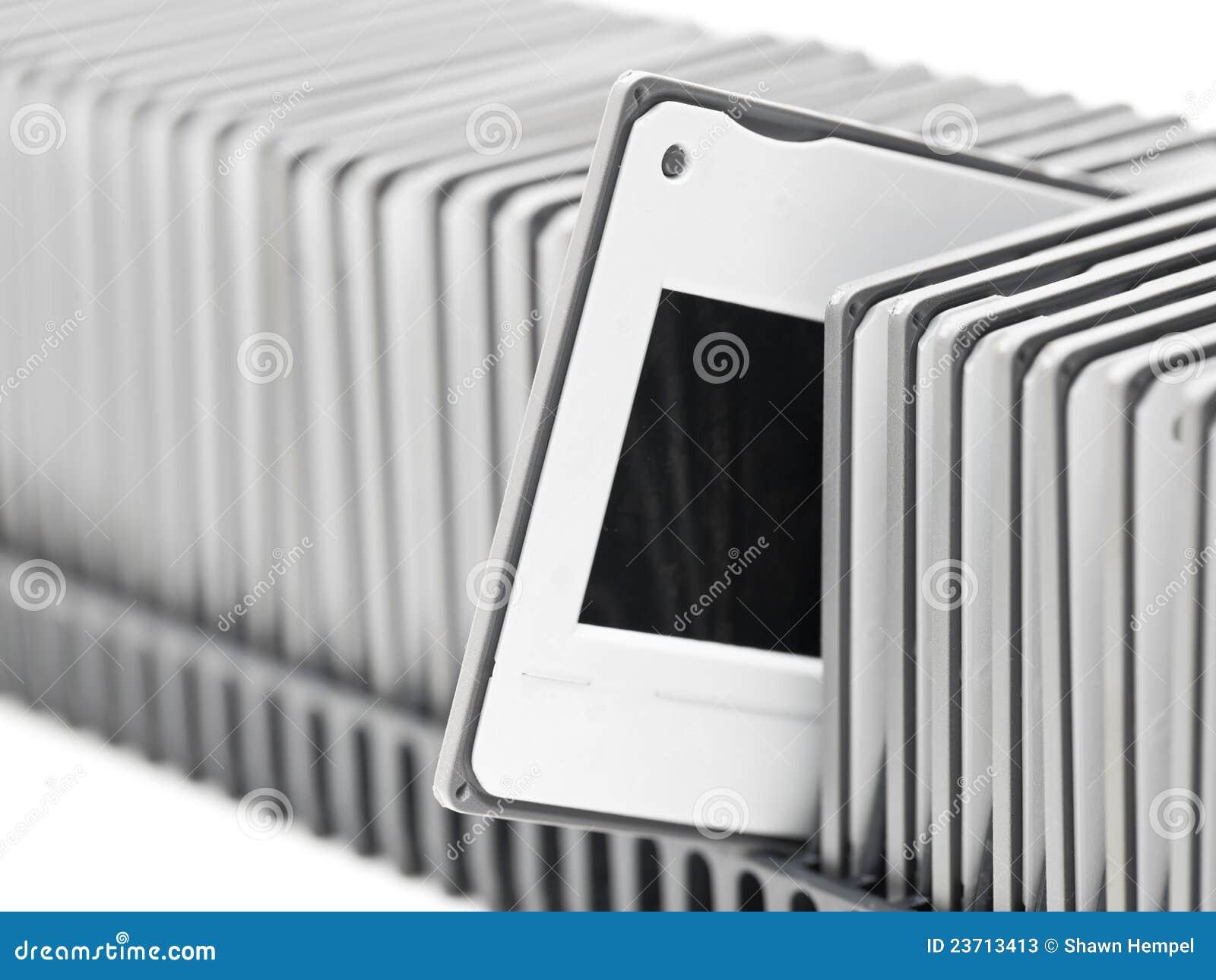 Cassetto del proiettore con le trasparenze immagine stock immagine