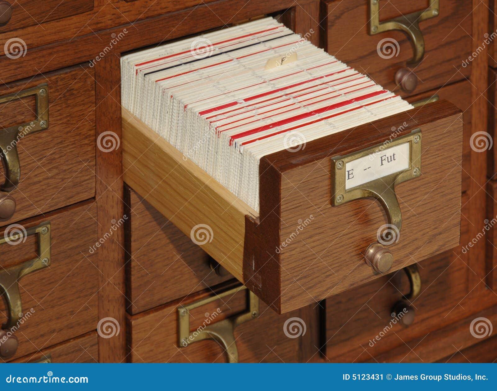 Cassetto di archivio del catalogo della scheda