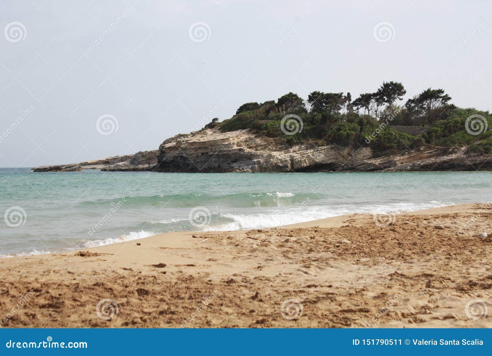 Cassibile strand och hav, Avola, Sicilien
