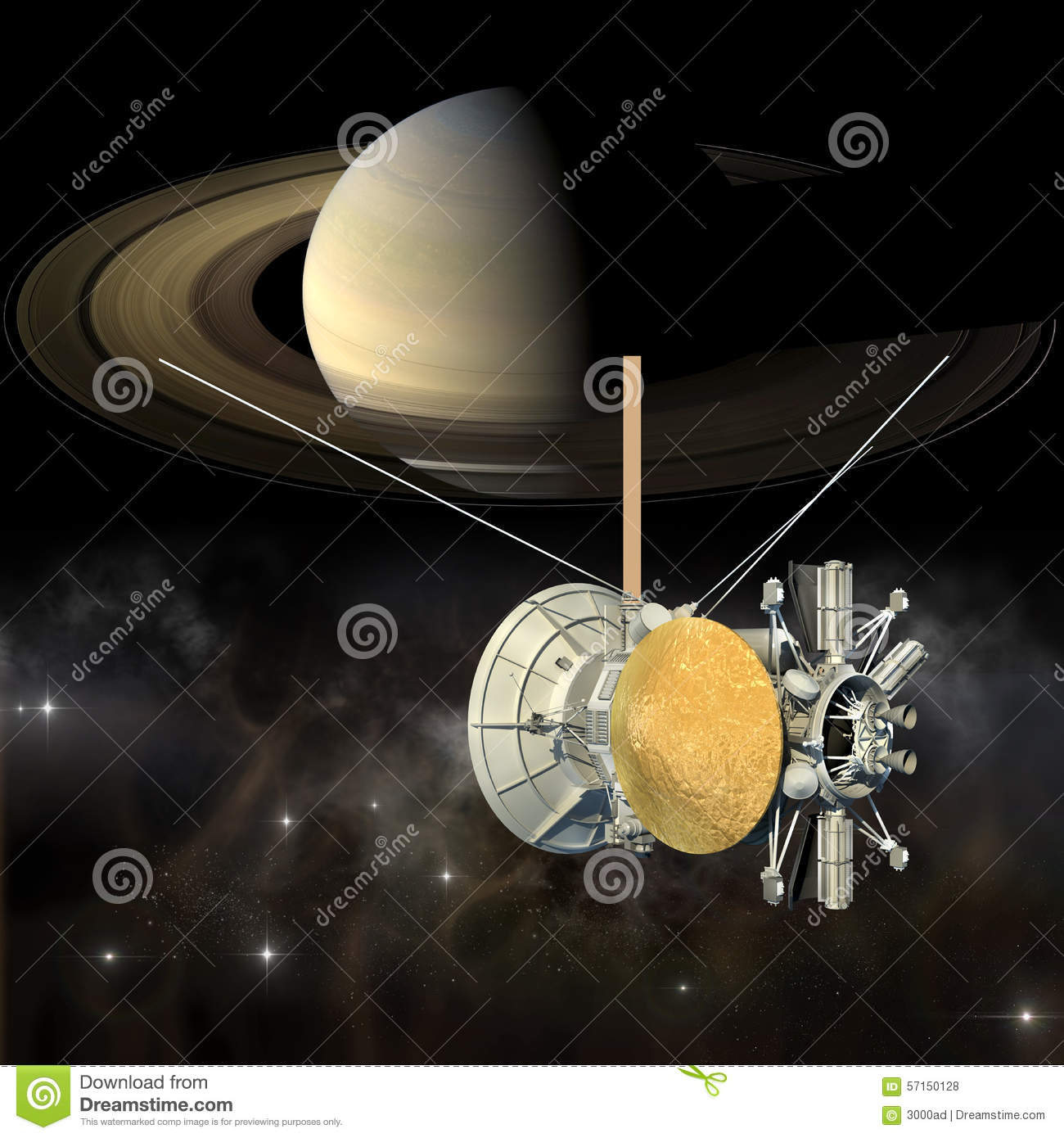 Cassini Mission Orbiter Closing Saturn Stock Illustration ...