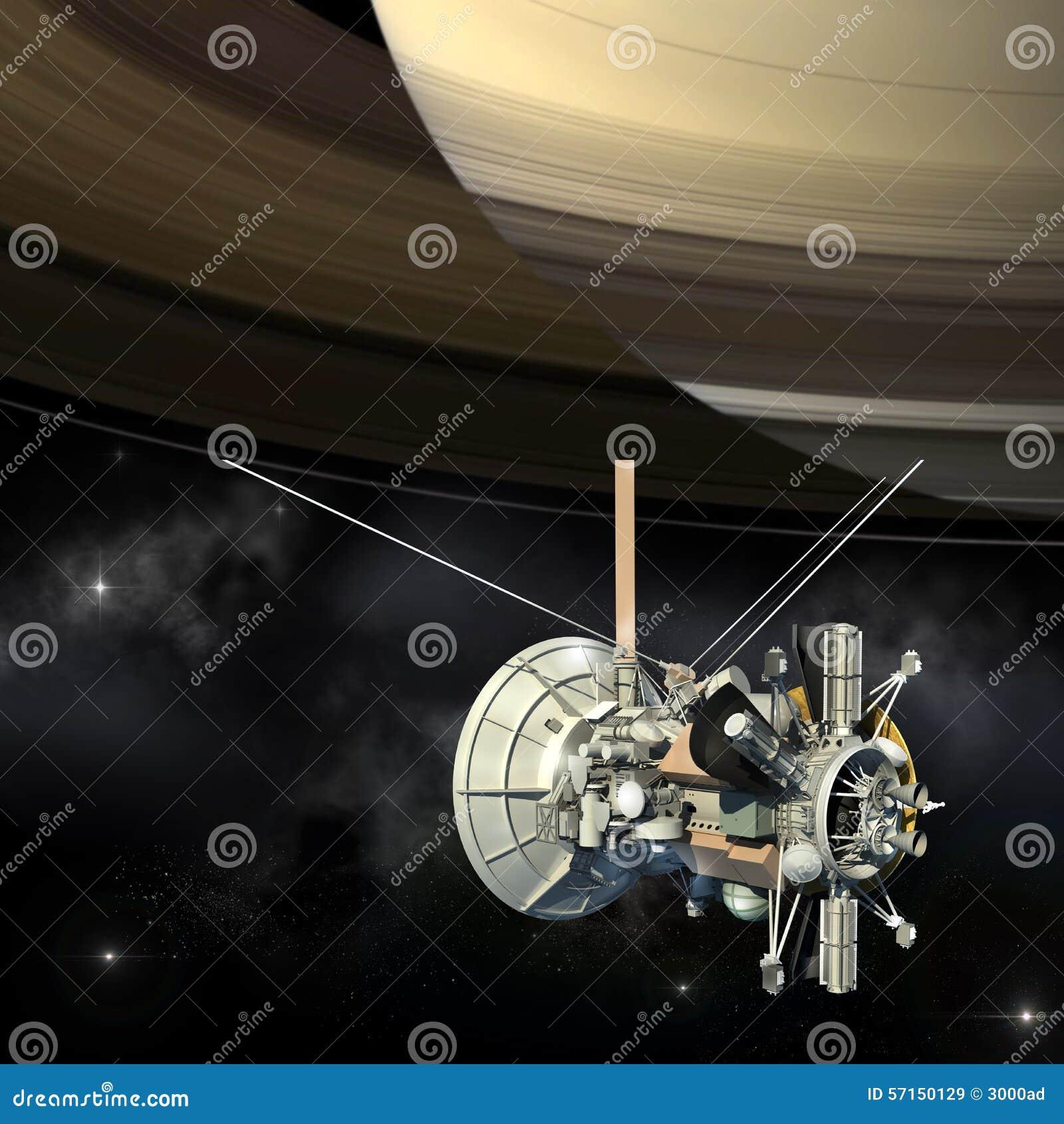 Cassini Mission Orbiter Closing Saturn Stock Illustration ...