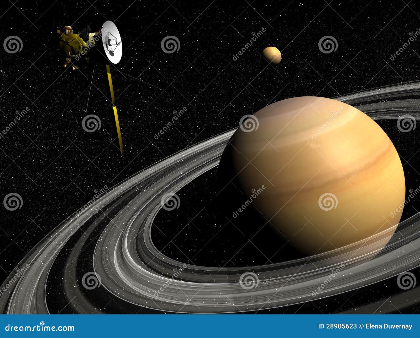 cassini spacecraft near saturn and titan satellite 3d. Black Bedroom Furniture Sets. Home Design Ideas