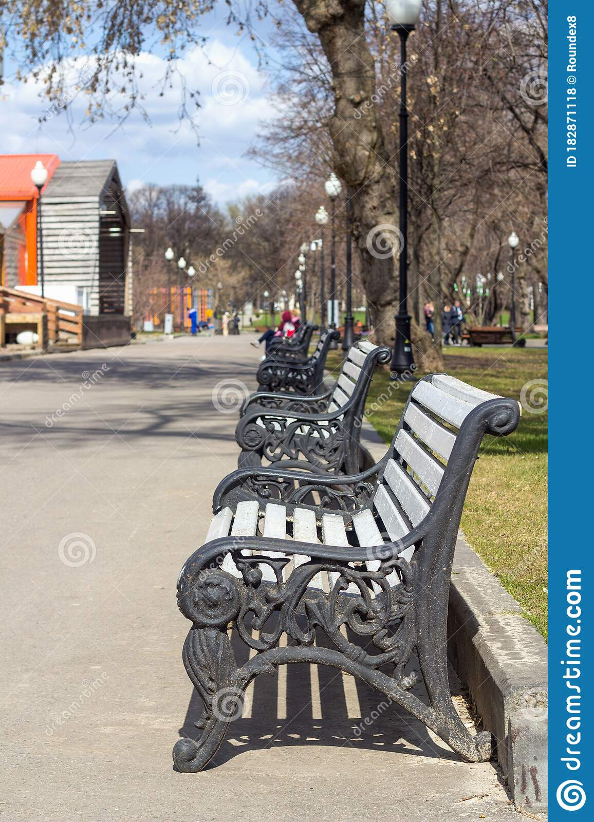 Picture of: Cast Iron Bench With Wooden Slats On The Park Alley Stock Photo Image Of Cast Bench 182871118