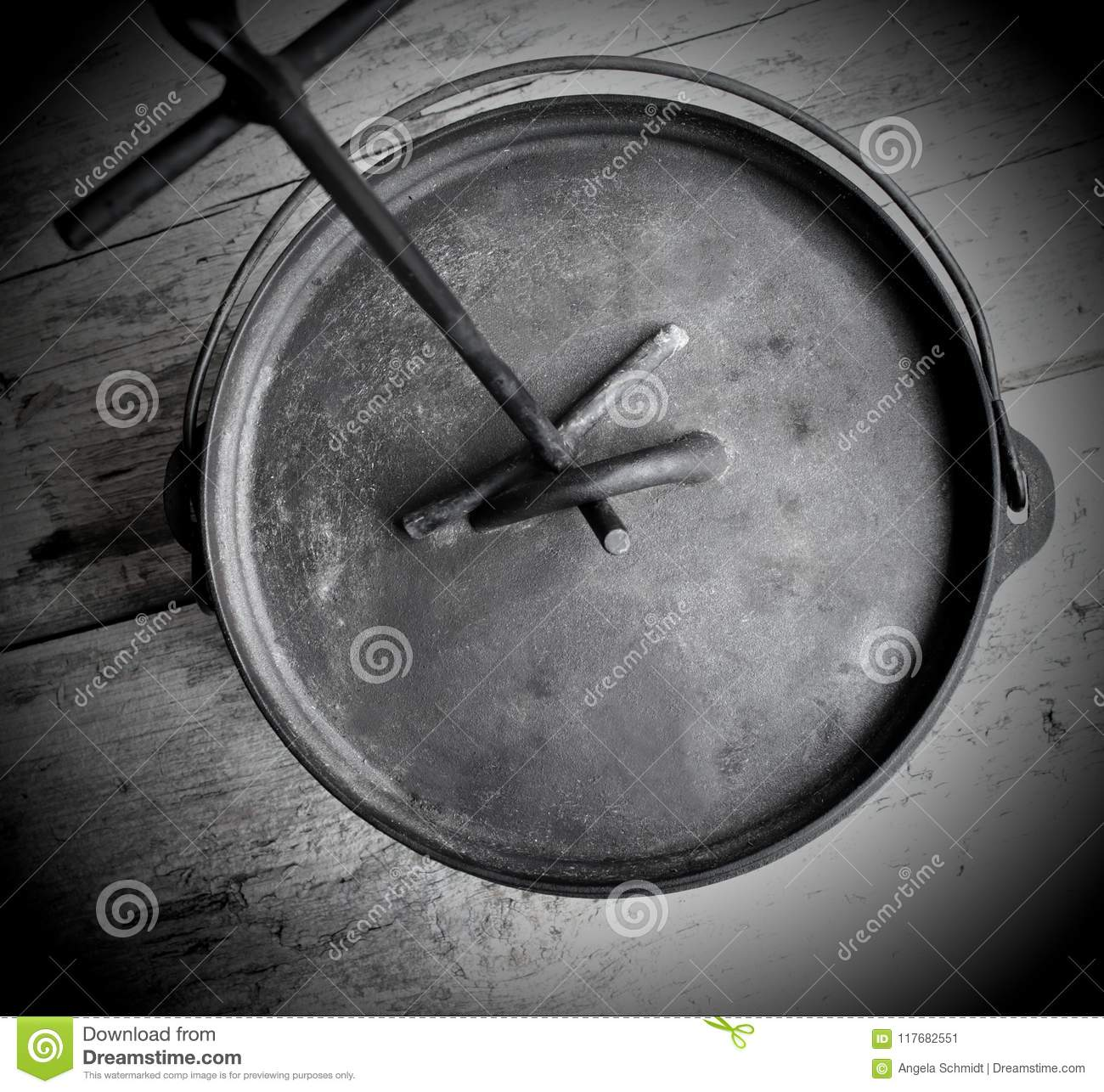 Cast Iron Dutch Oven With Lid Lifter Top View Stock Image Image Of