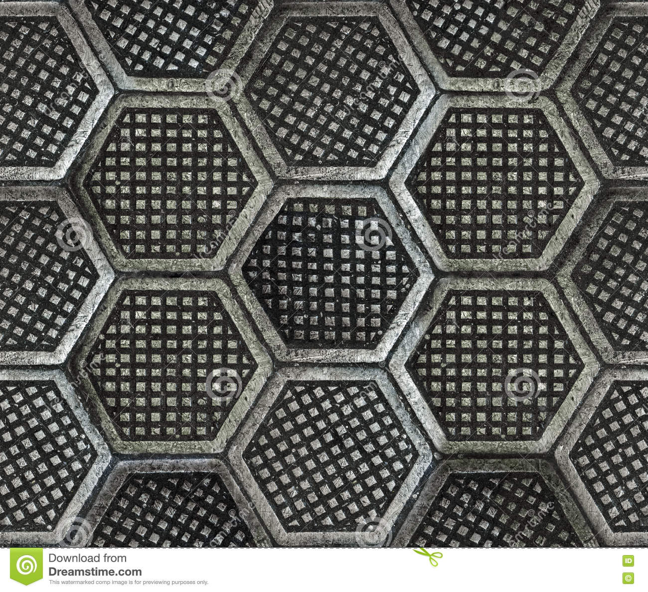 Cast Iron Hexagonal Factory Floor Texture Stock Image