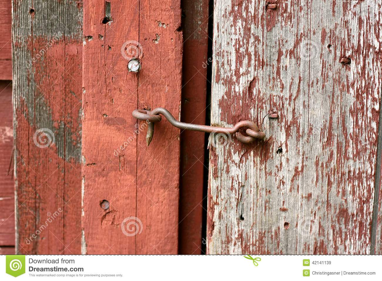 Cast Iron Hook And Eye Lock On Old Barn Door Stock Image