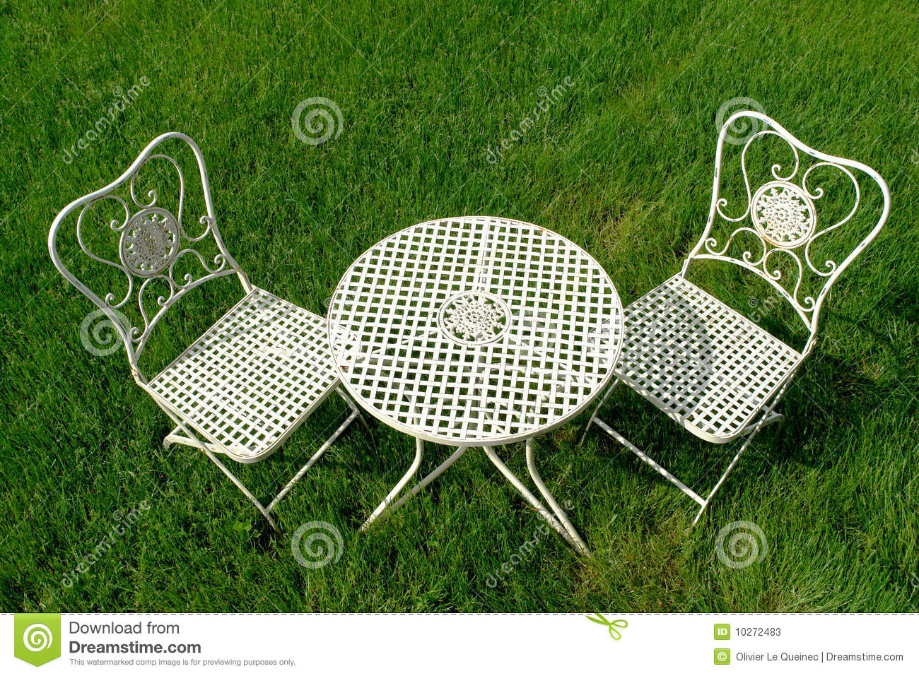 Enjoyable Cast Iron Patio Furniture Set On Green Grass Stock Image Best Image Libraries Weasiibadanjobscom