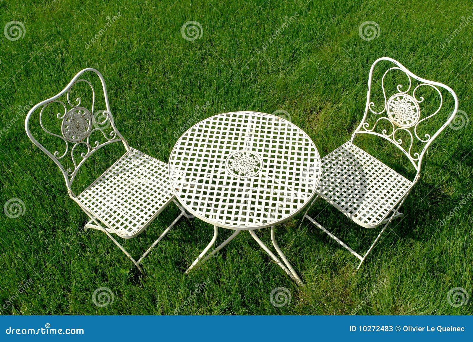 Groovy Cast Iron Patio Furniture Set On Green Grass Stock Image Download Free Architecture Designs Xaembritishbridgeorg