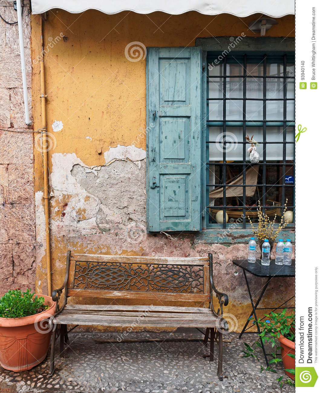 Cast Iron And Wood Bench Outside Old Cafe Editorial Image Image Of