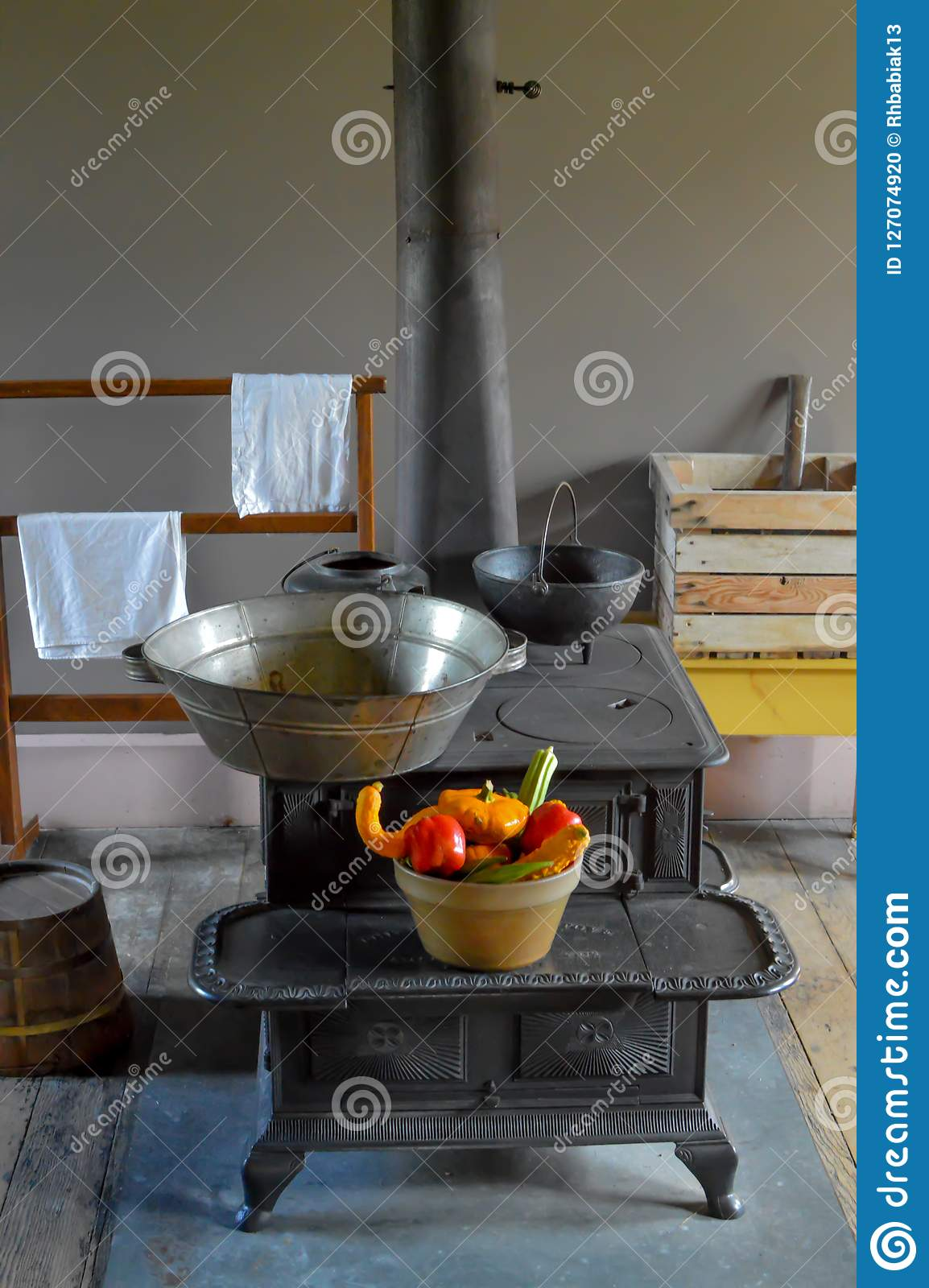 Phenomenal Cast Iron Wood Stove With Basket Of Vegetables Stock Photo Customarchery Wood Chair Design Ideas Customarcherynet