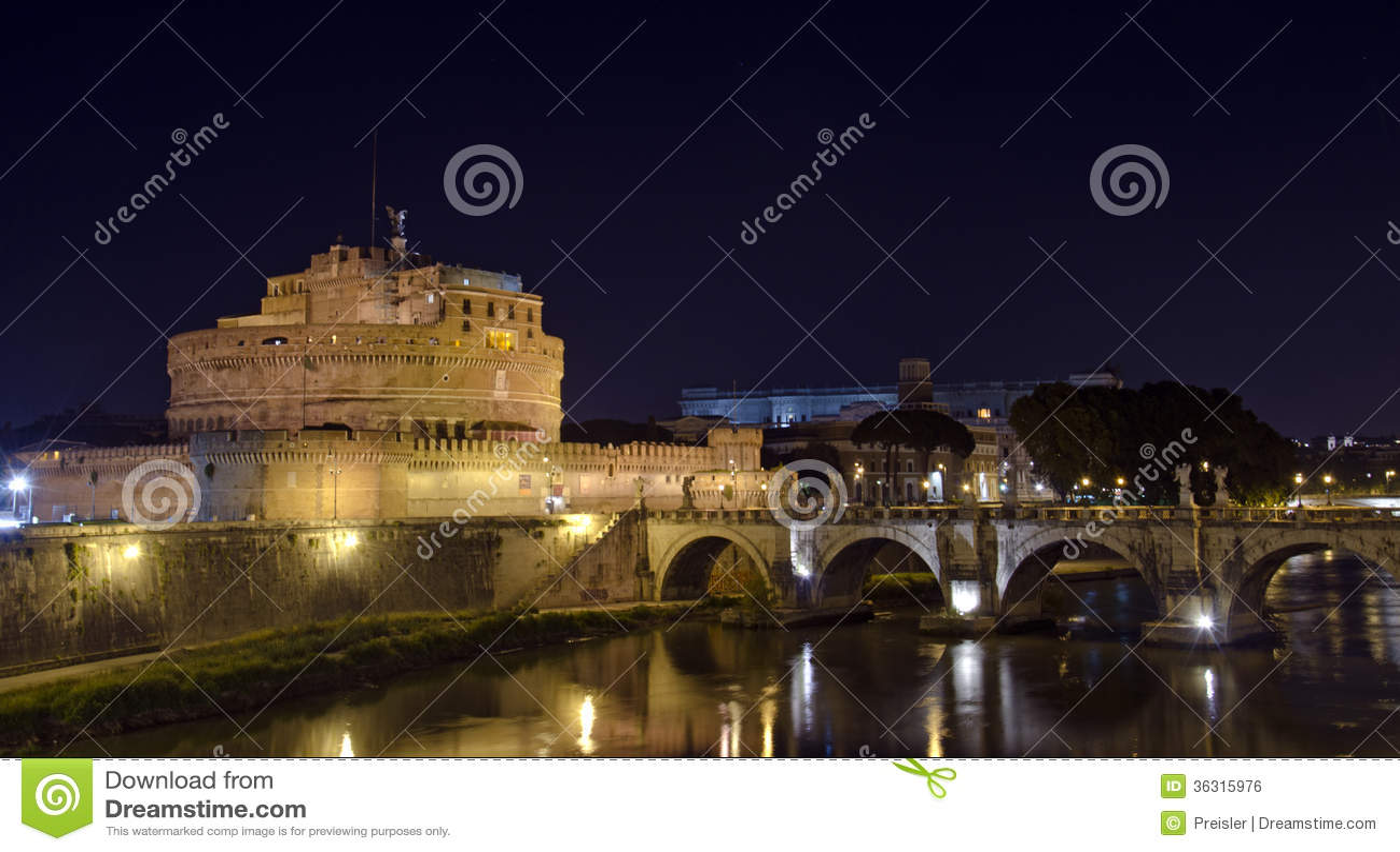 Castel Santangelo por noche, Roma