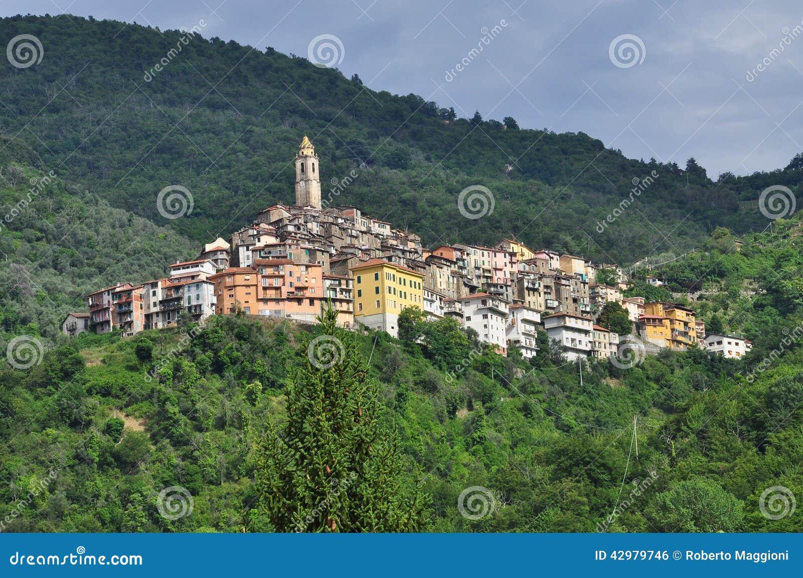 Castel Vittorio Mountain Village Liguria Italy Stock