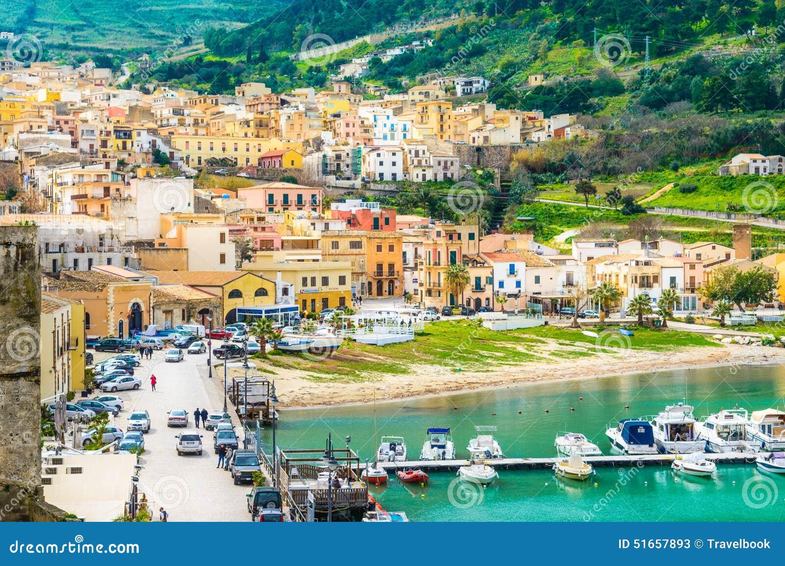 Castellammare del golfo sicily italy stock photo image 48782909 - Castellammare Del Golfo Village Panoramic View Trapani Sicily Stock Photos
