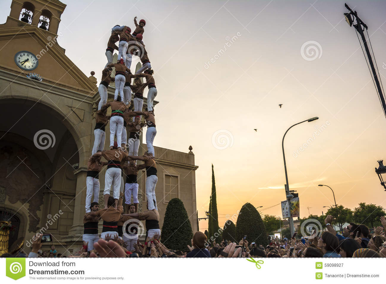 Reus Spain  city pictures gallery : Reus, Spain September 25, 2014: Castells Performance, castell is a ...