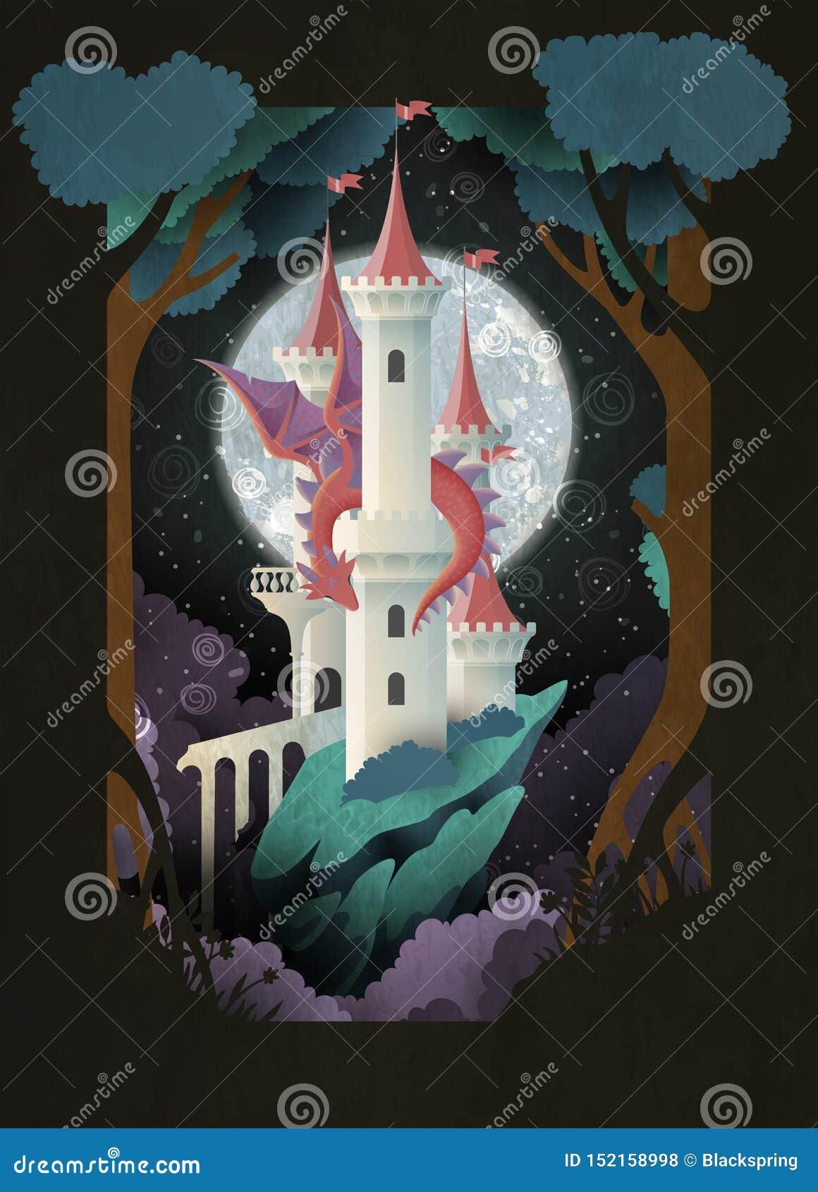 Castello dell illustrazione di fiaba della copertina di libro e drago davanti a cielo notturno ed alla luna