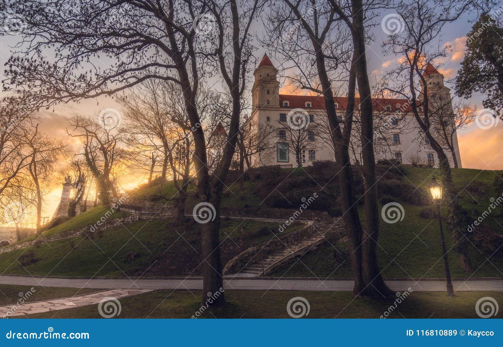 Castello di Bratislava attraverso gli alberi