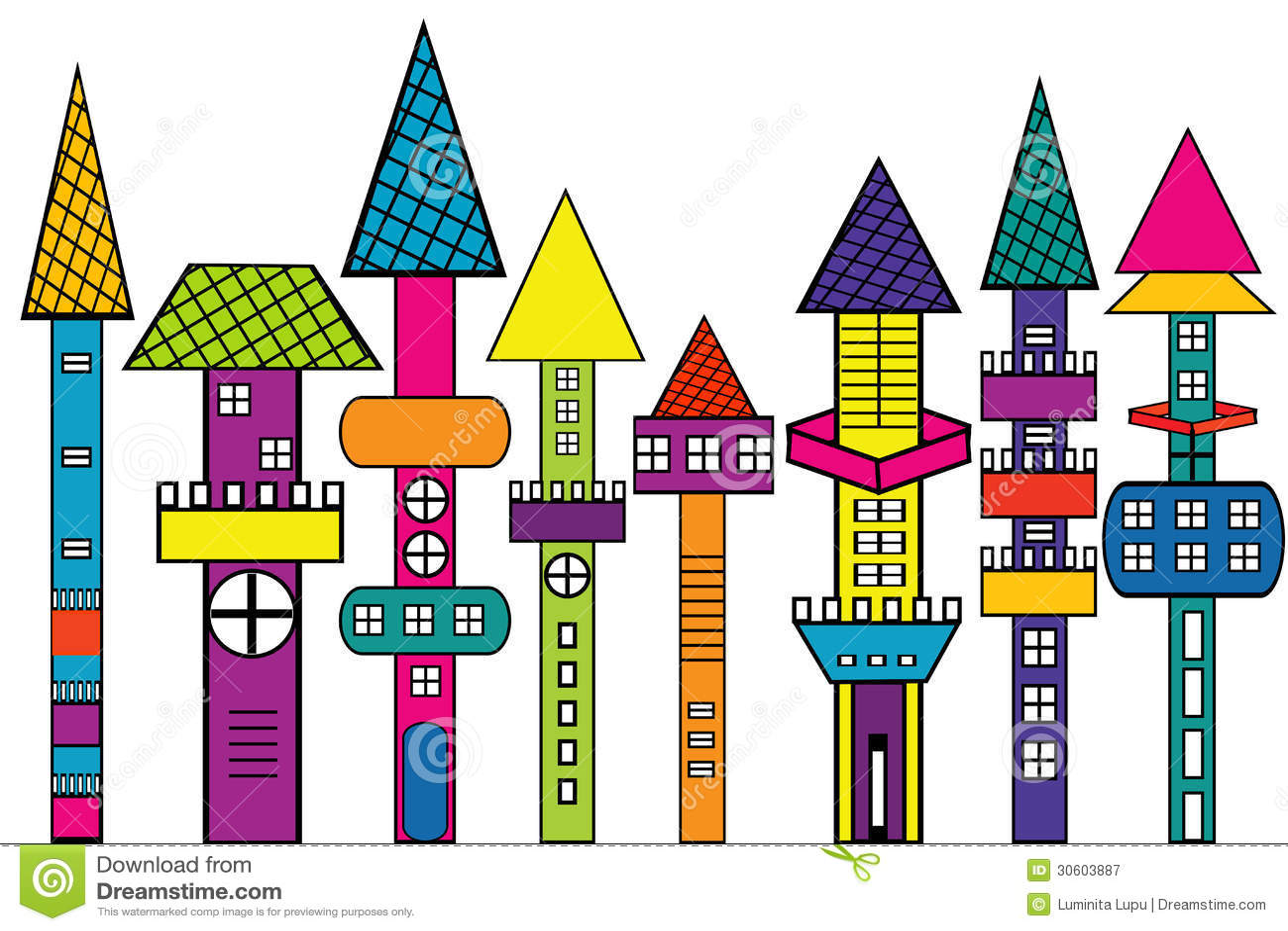 Castello di scarabocchio case colorate stilizzate for Foto di ville colorate