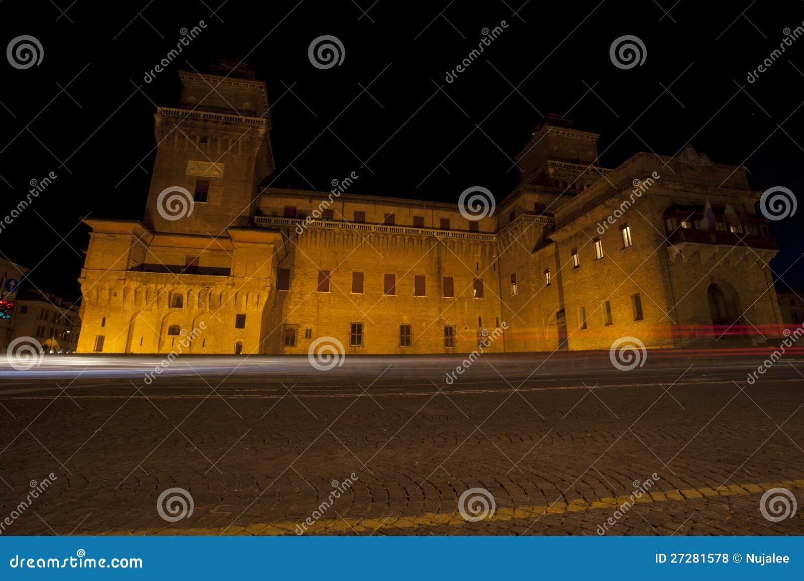 Castello Estense slott i Ferrara, Italien